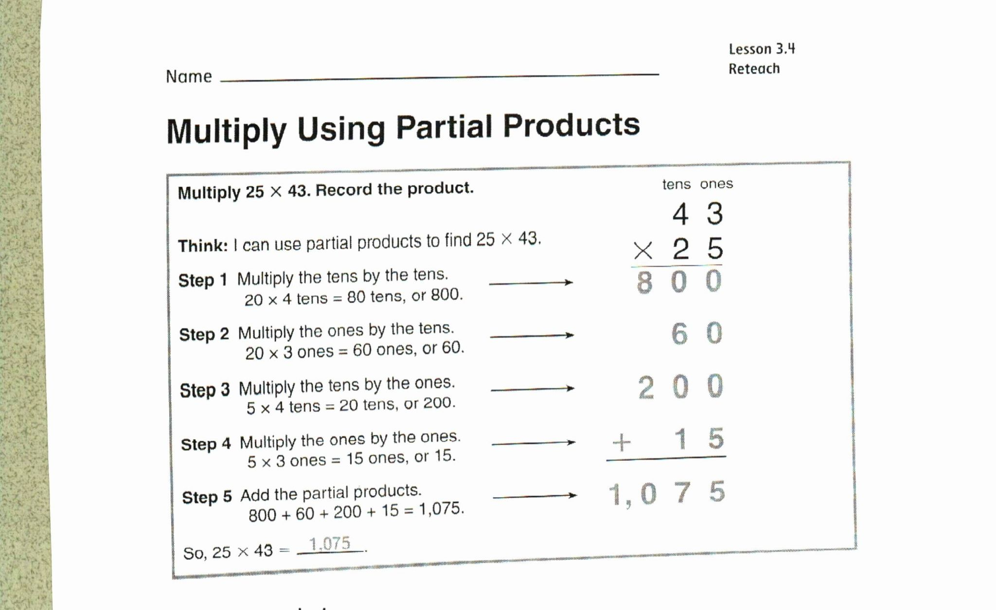 4th Grade Two Digit Multiplication Worksheets
