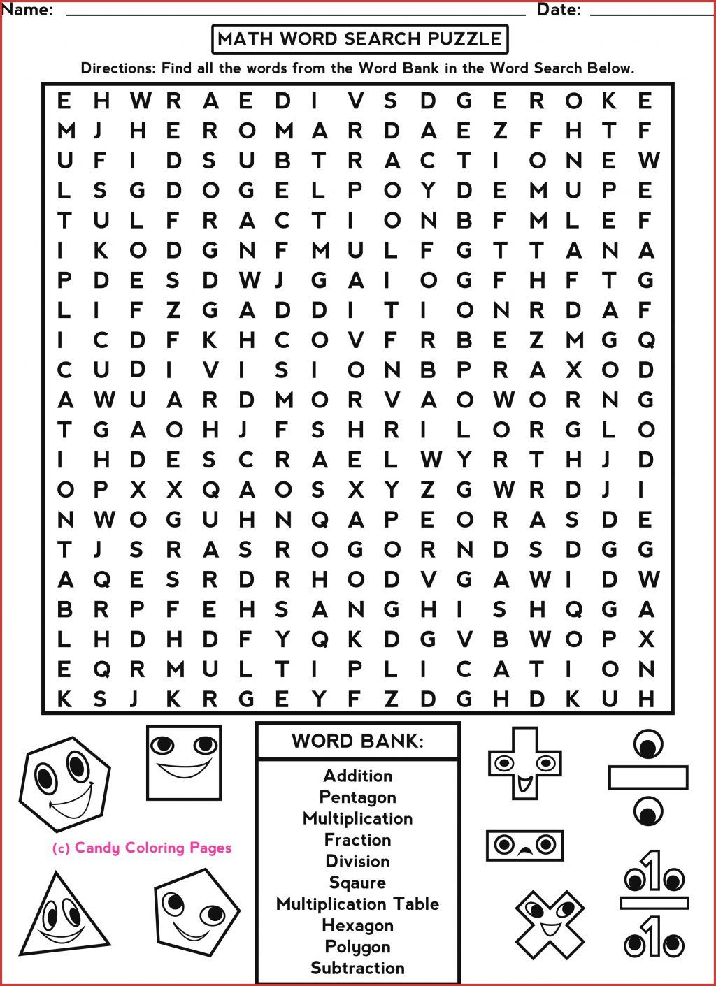 Math Word Search Answer Key