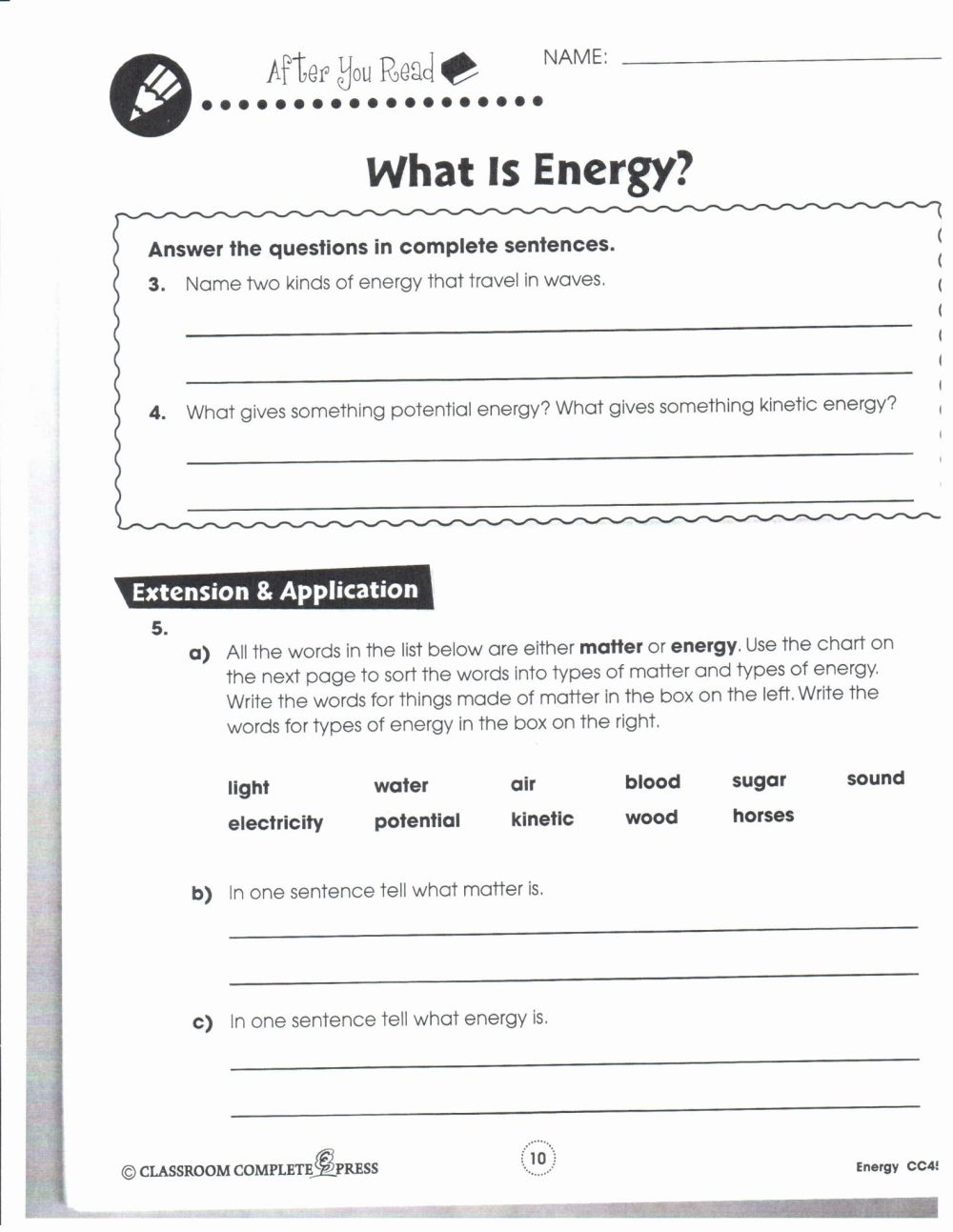 medium resolution of Sixth Grade Science Worksheet   Printable Worksheets and Activities for  Teachers