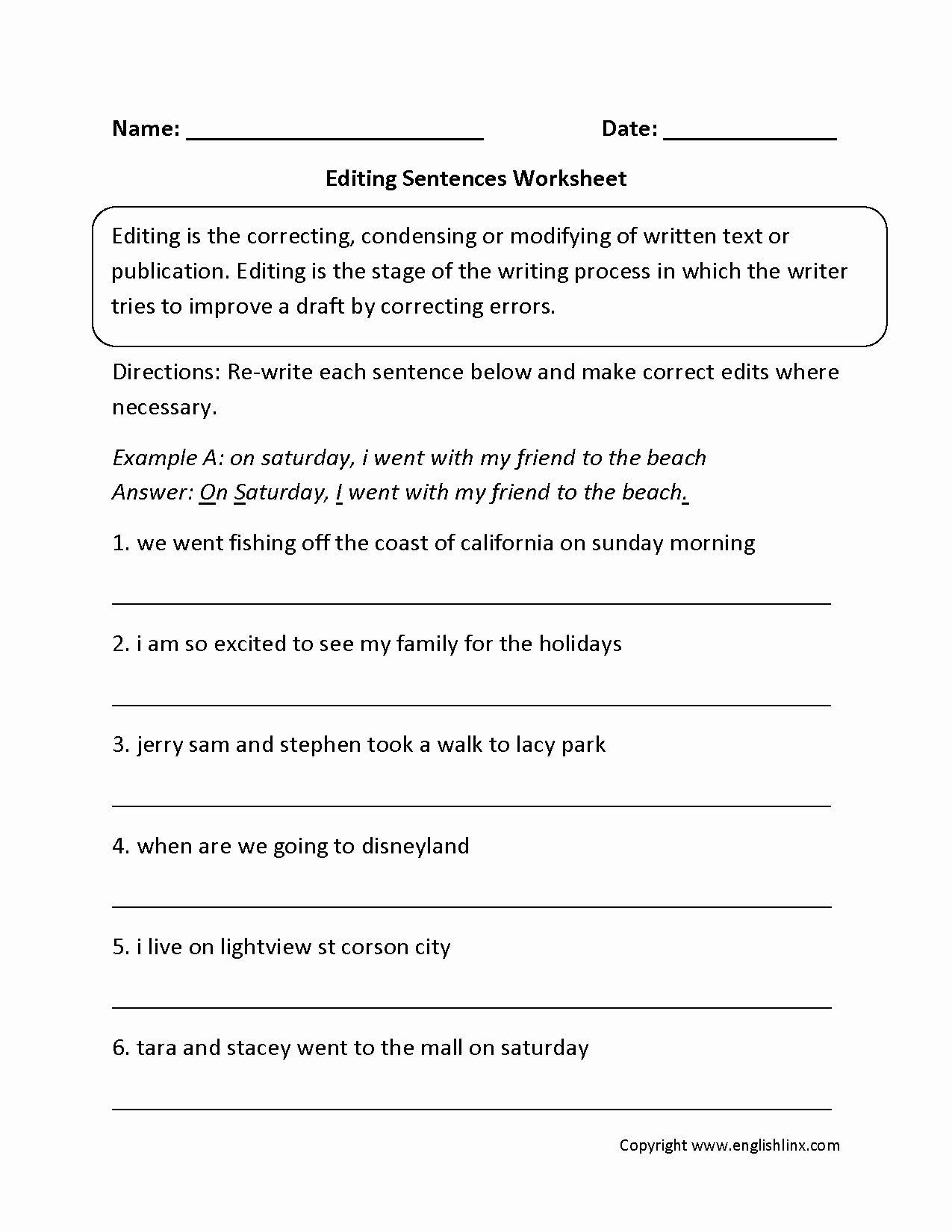 7th Grade English Worksheets