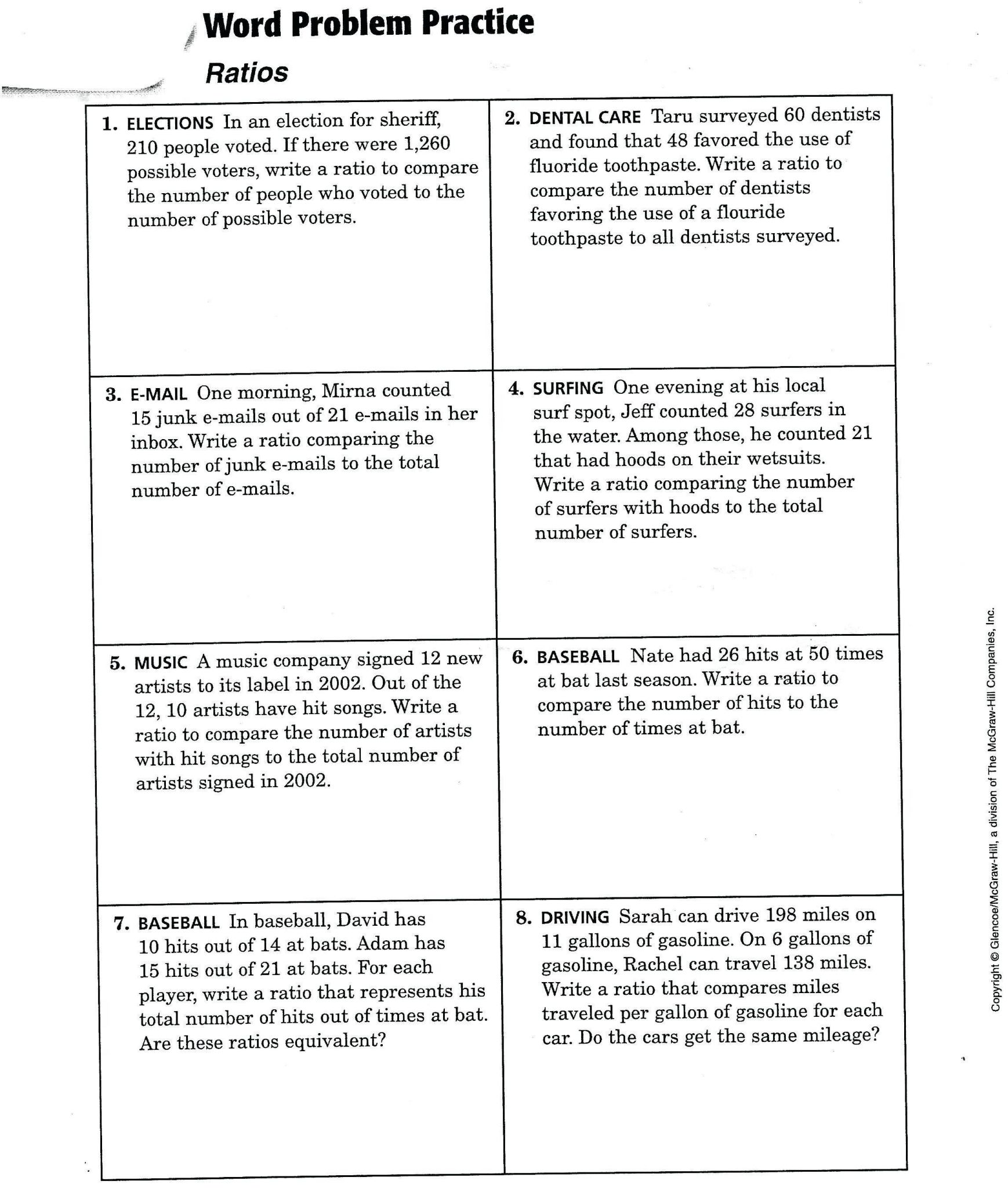 7th Grade Math Word Problems Worksheets