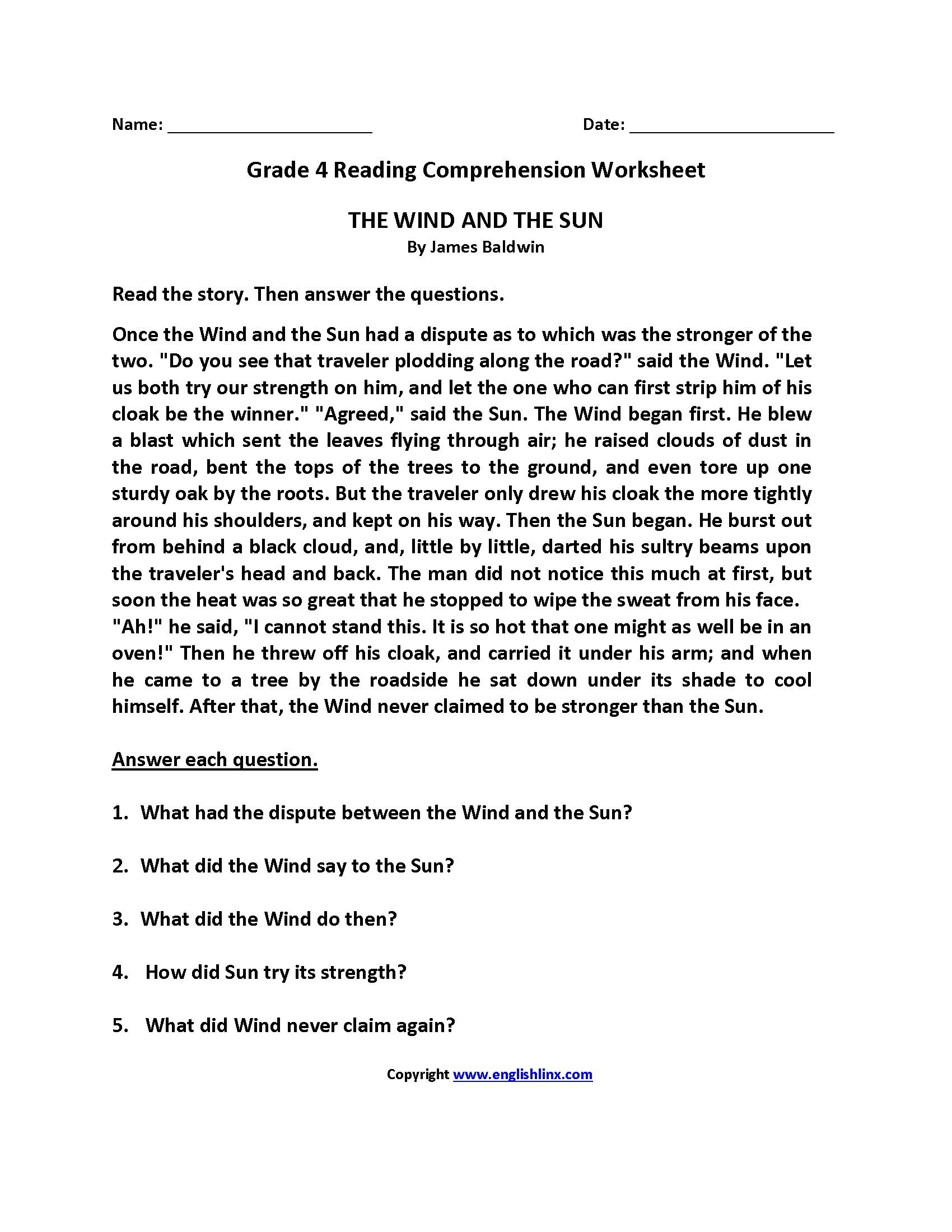 Prehension Worksheet Grade 4