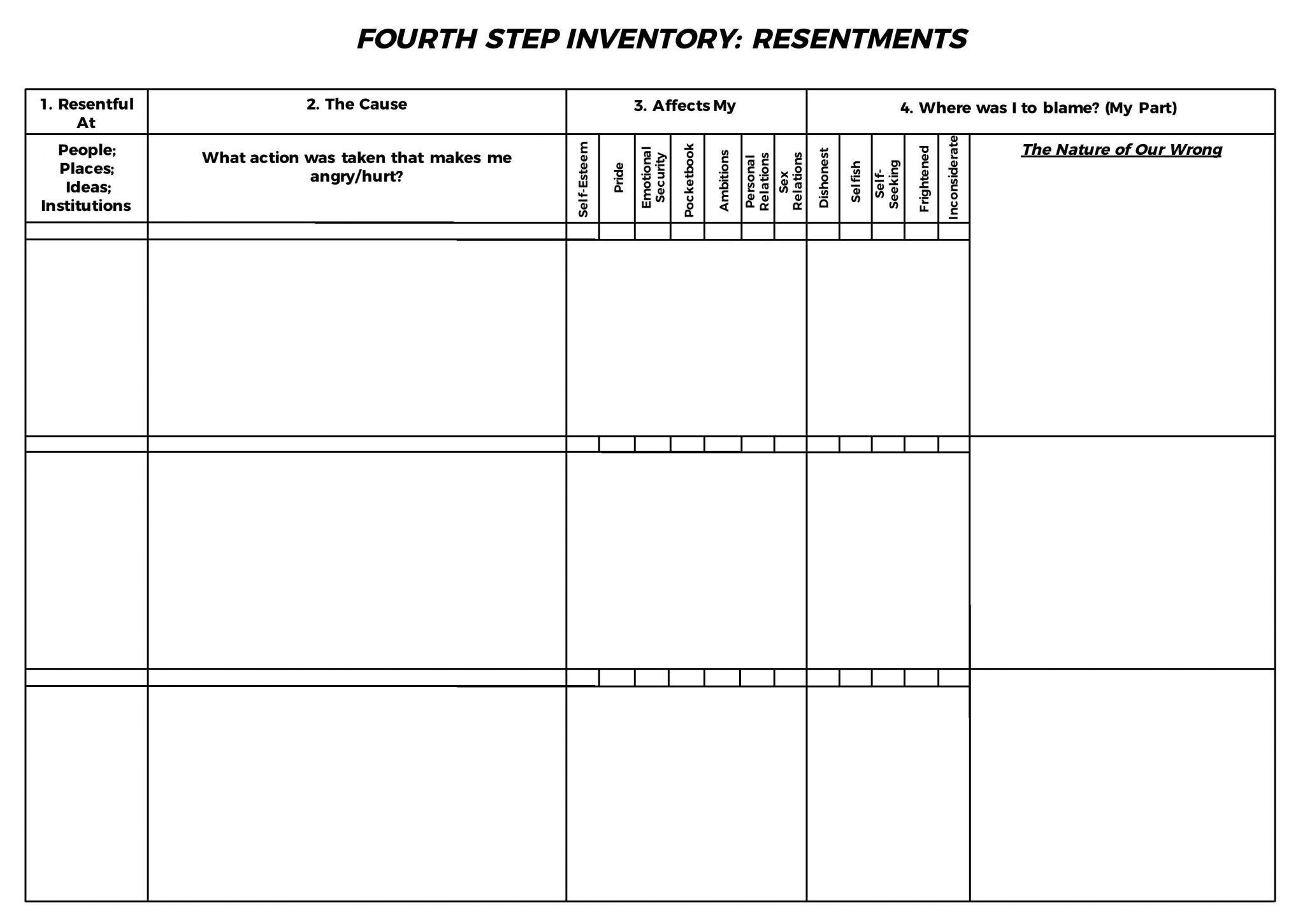 Aa 4th Step Worksheet