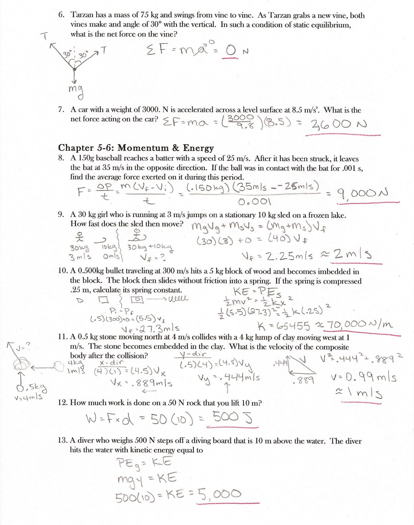 Acceleration Worksheet Answer Key