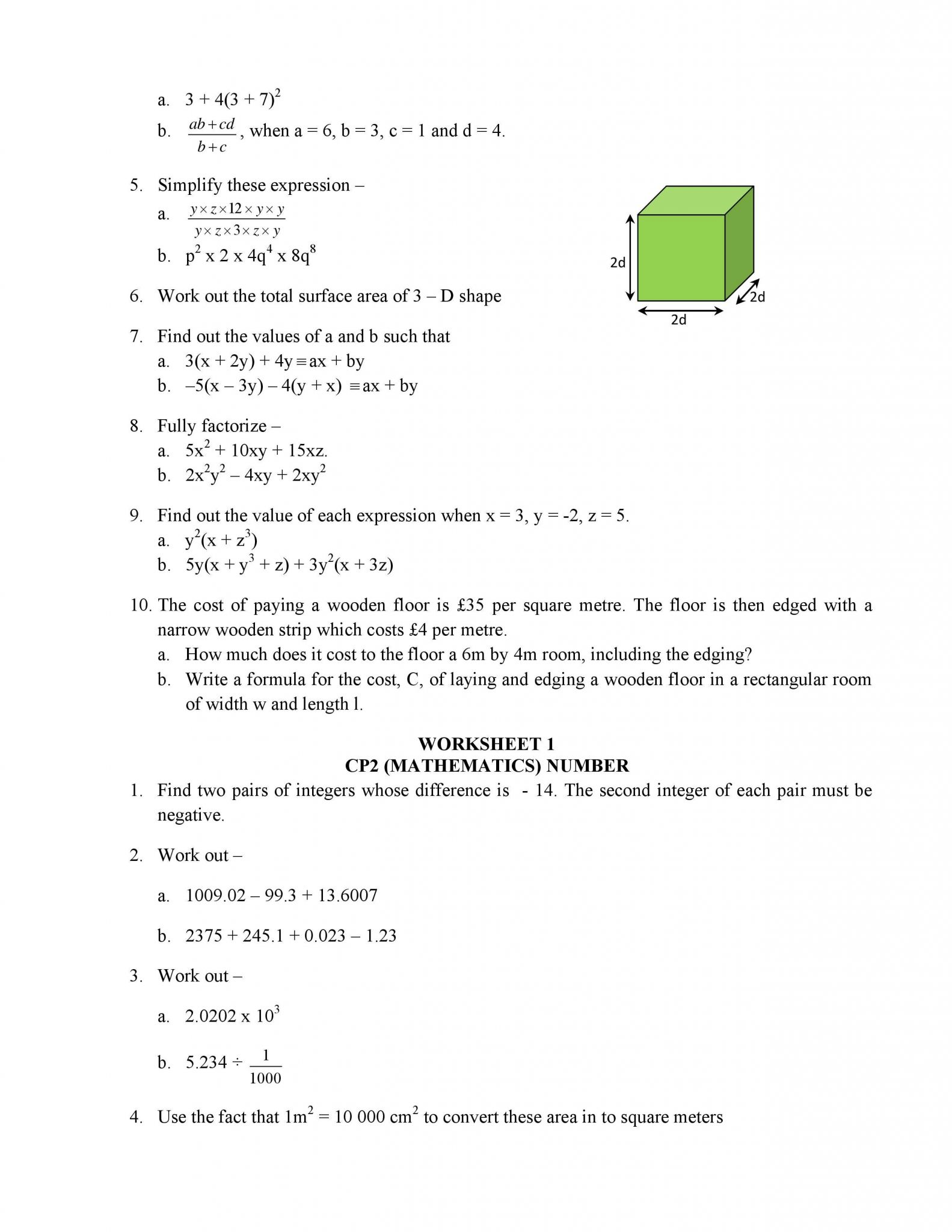 Algebra 1 Worksheet 1 5 Translating Expressions Answer Key
