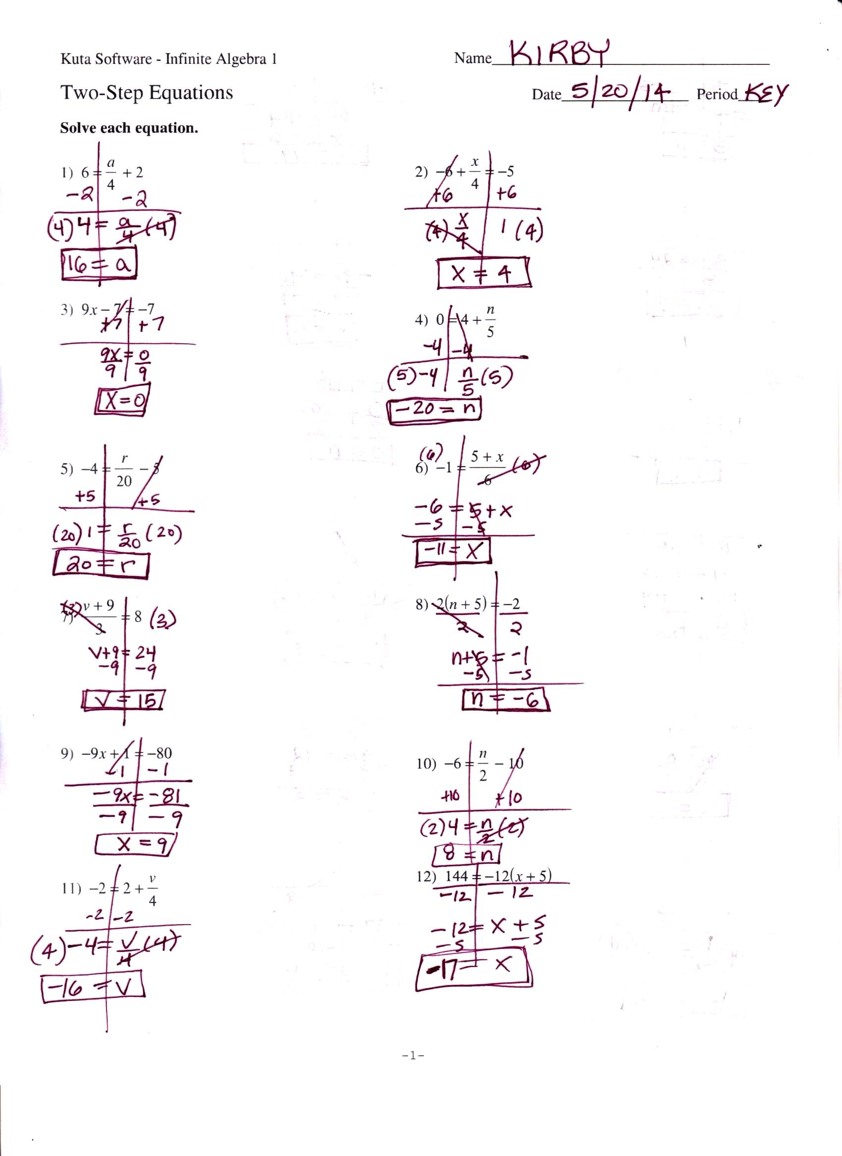 Literal Equations Worksheet Infinite Algebra 1
