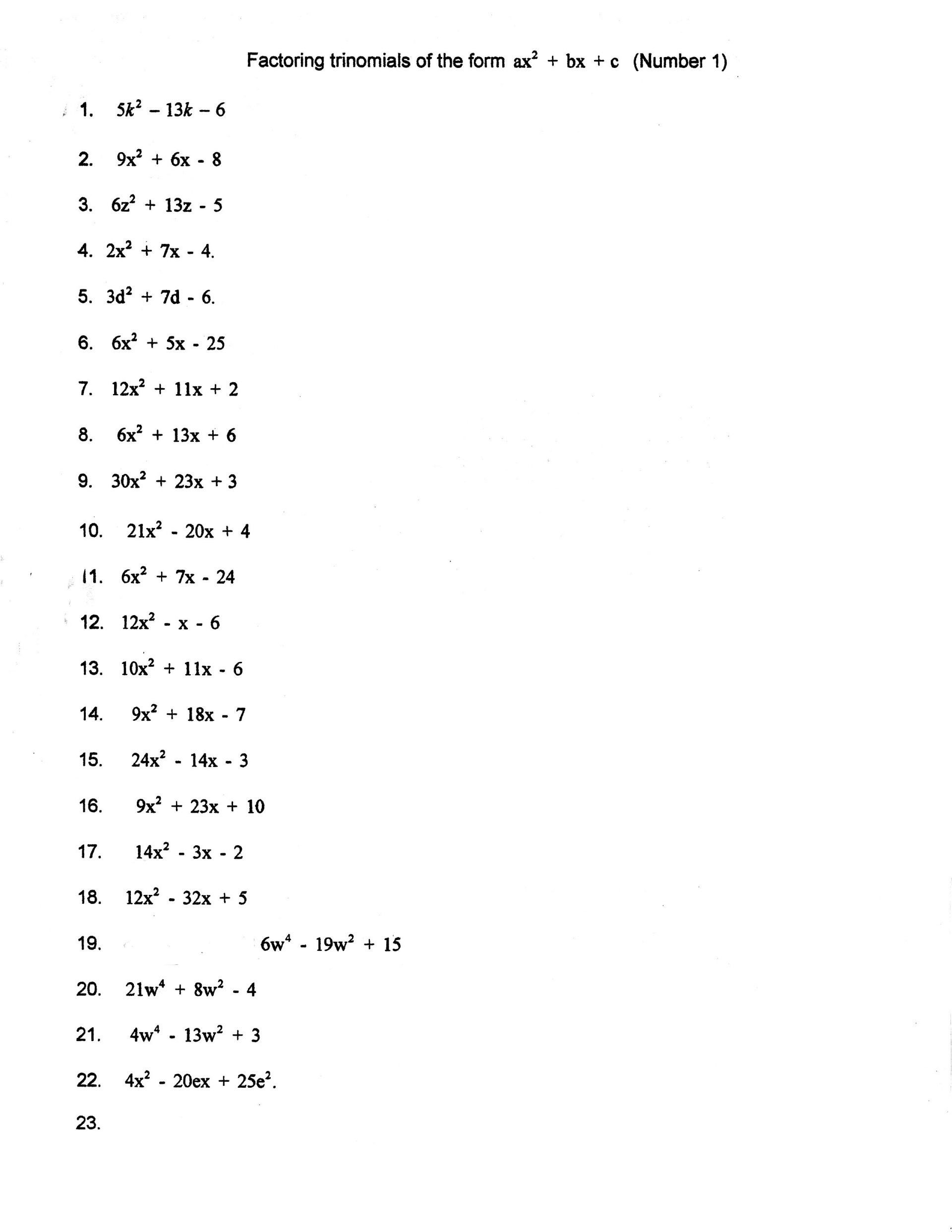 Algebra 2 Factoring Quadratics Worksheet