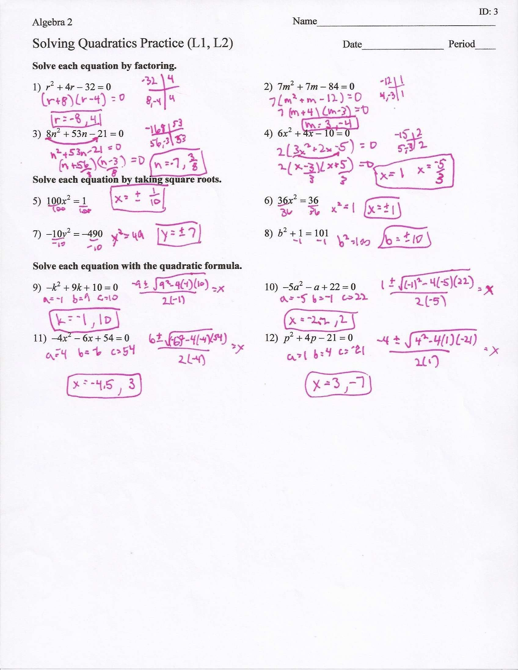 Solving Quadratic Equations Review Answer Key