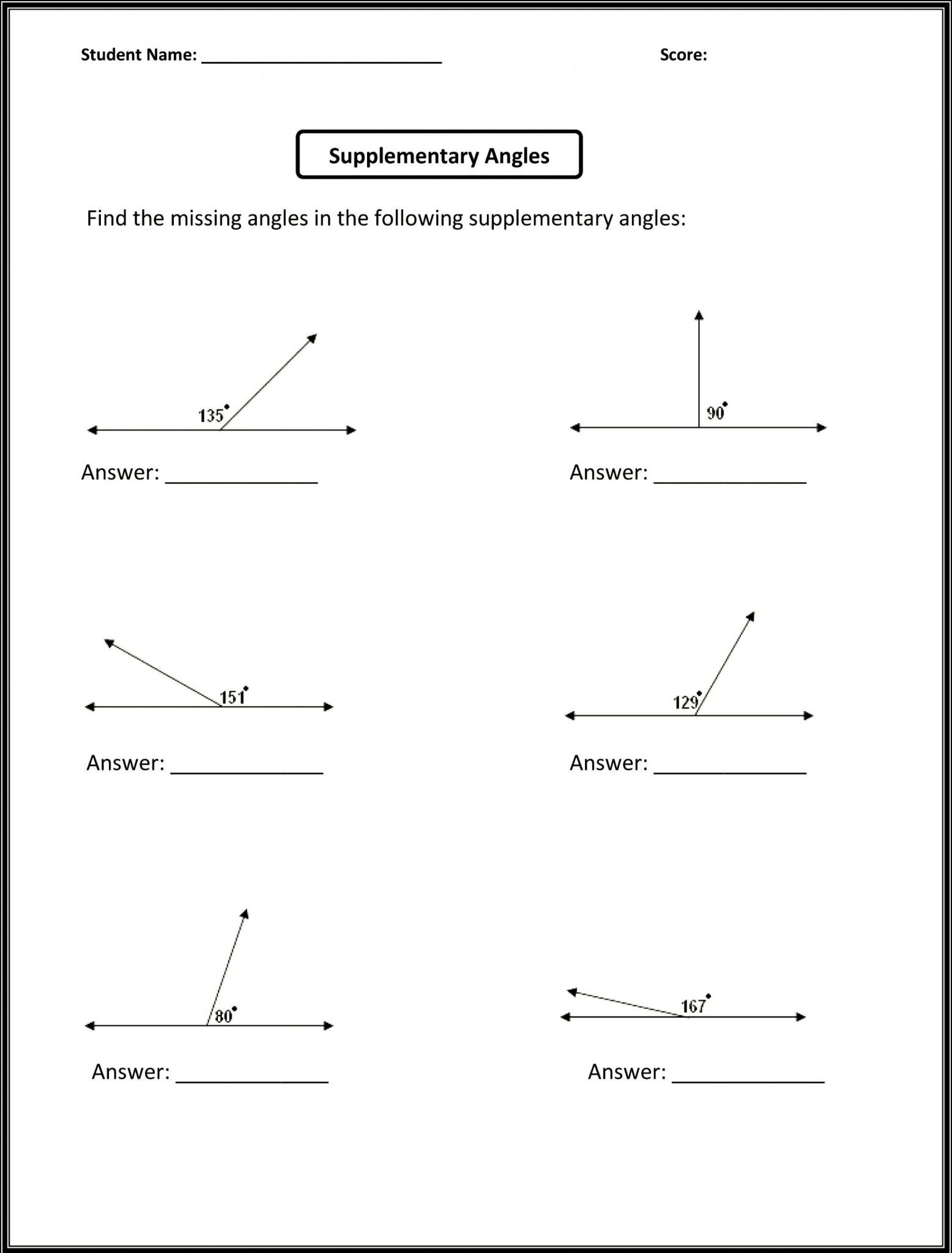 Angle Pair Relationships Worksheet Answers
