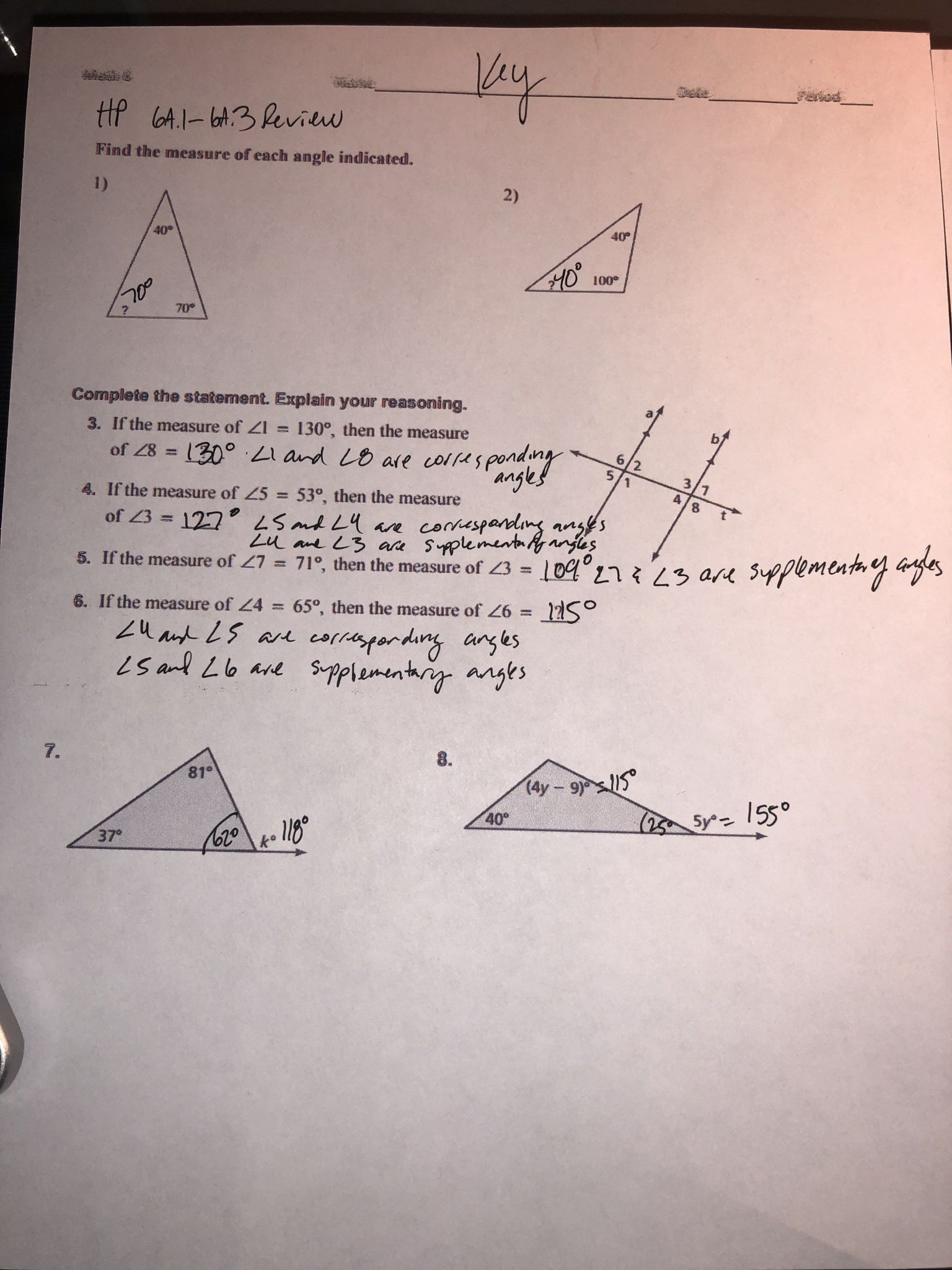 Angles In A Triangle Worksheet Answers