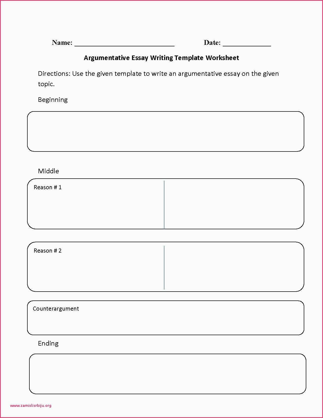 Argumentative Essay Outline Worksheet