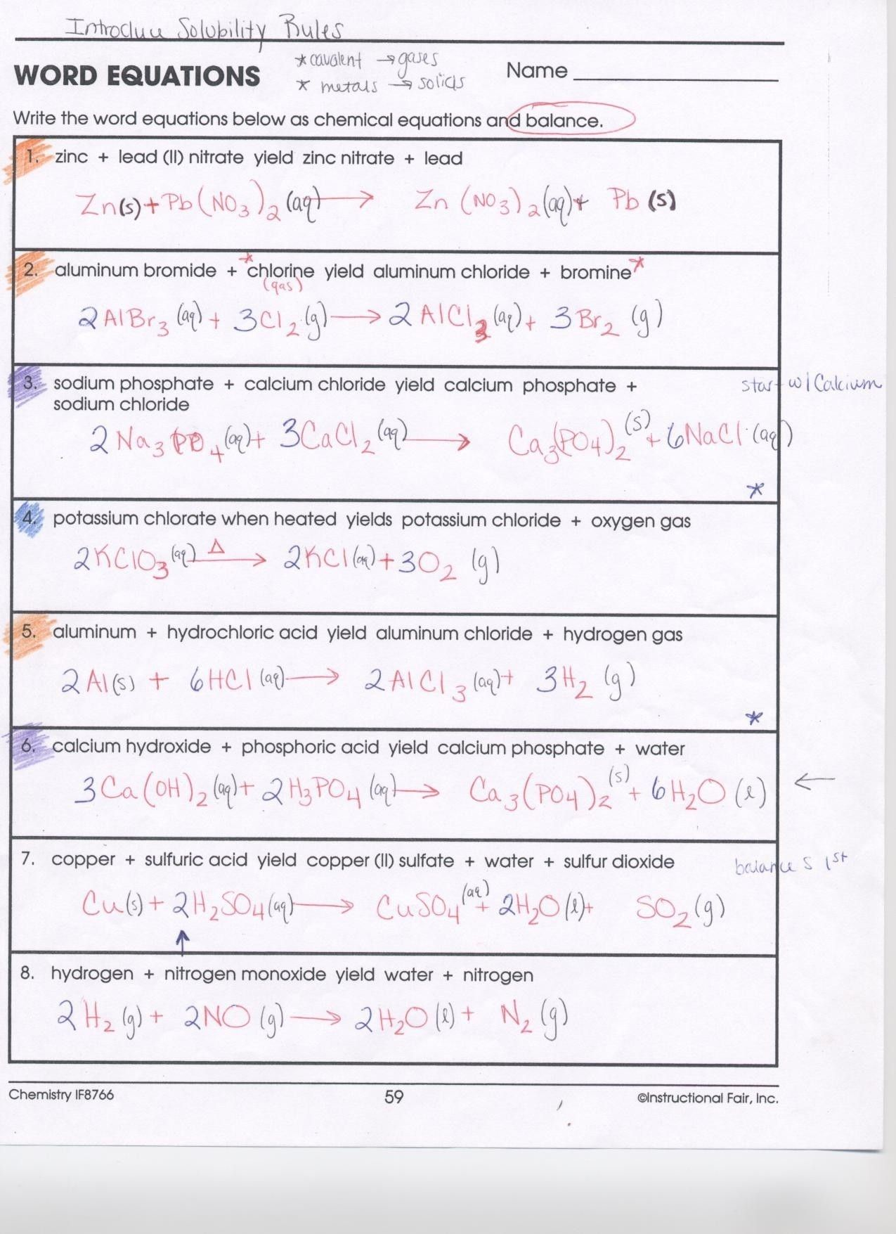 33 Chemical Formulas And Equations Worksheet Answers