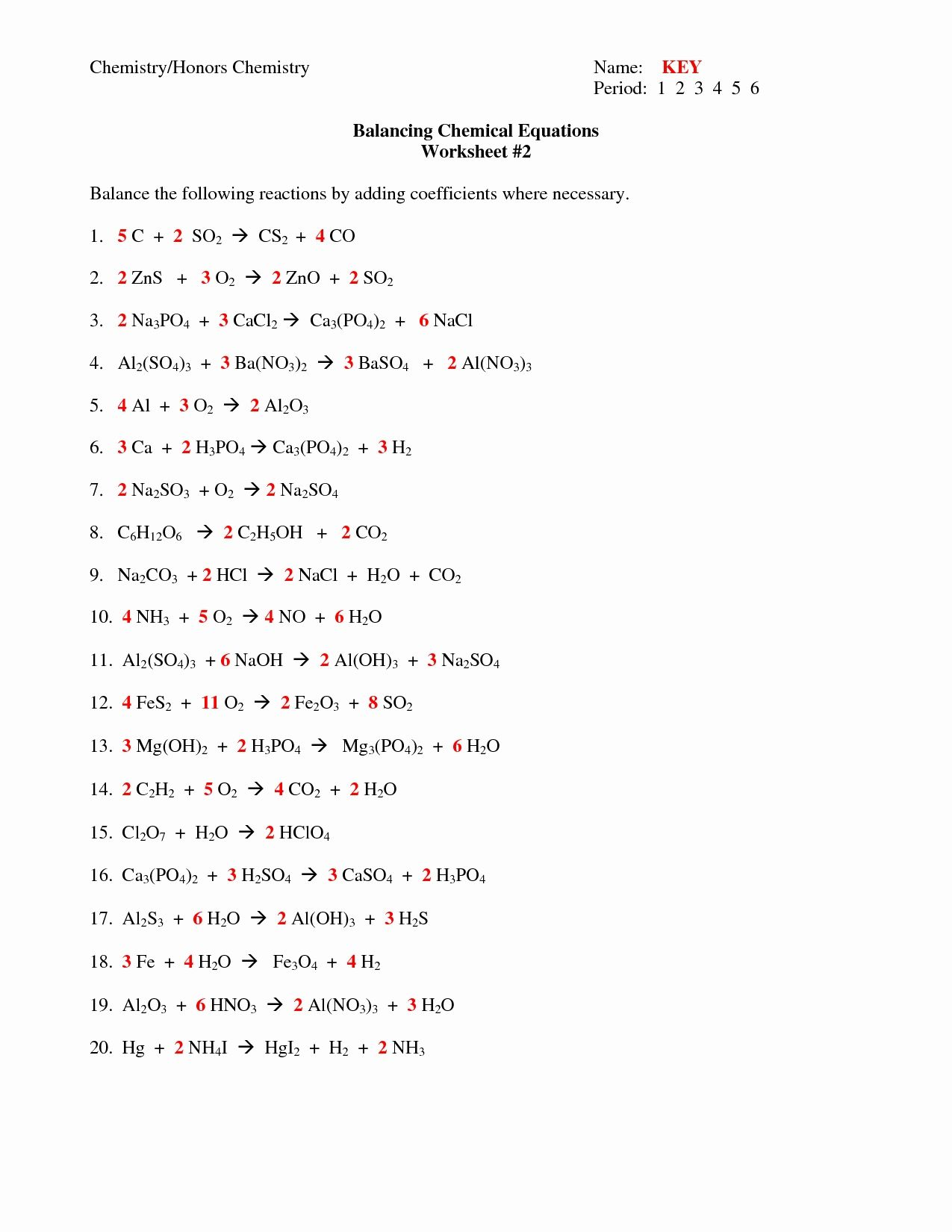 Balancing Chemical Equations Worksheet Answer Key