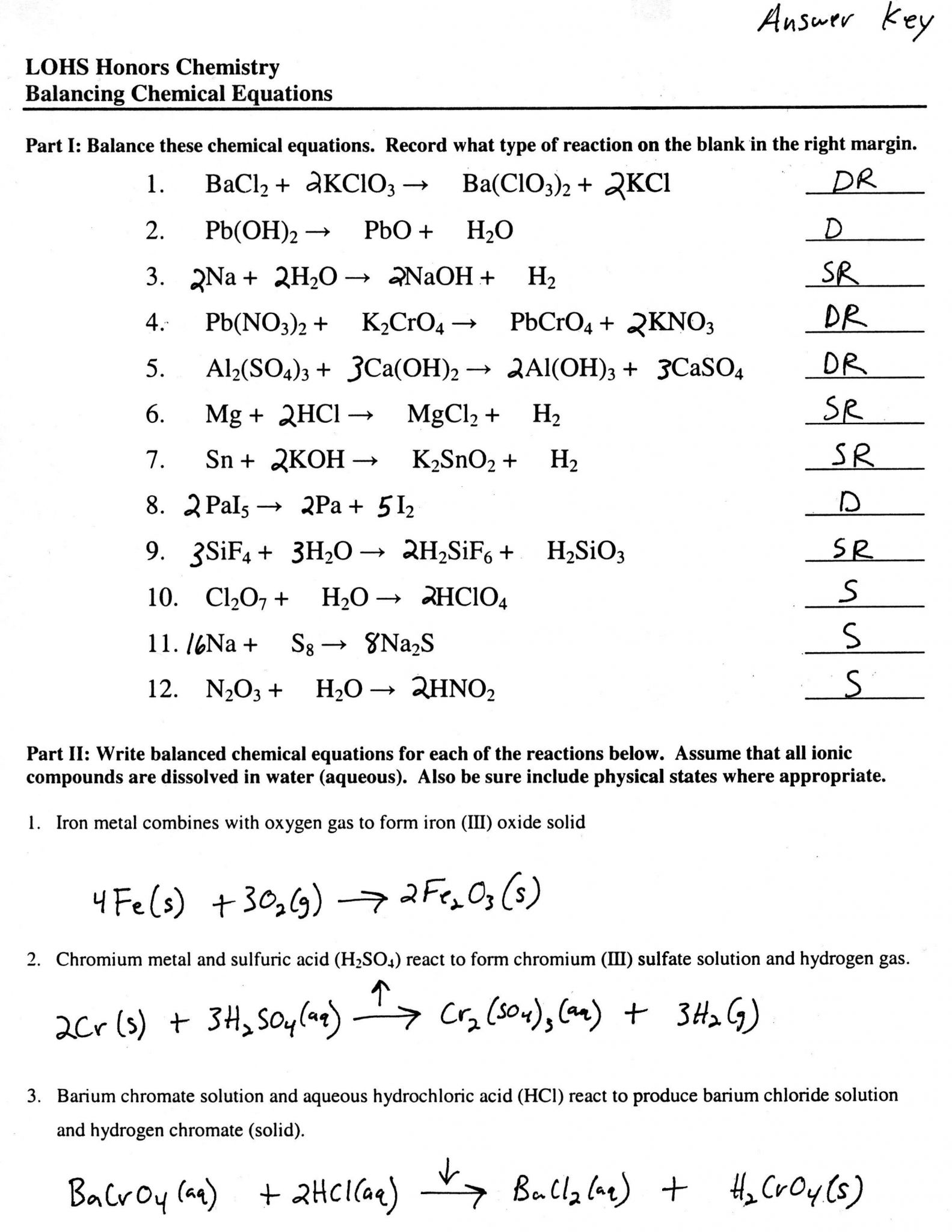 Balancing Chemical Equations Worksheet Grade 10