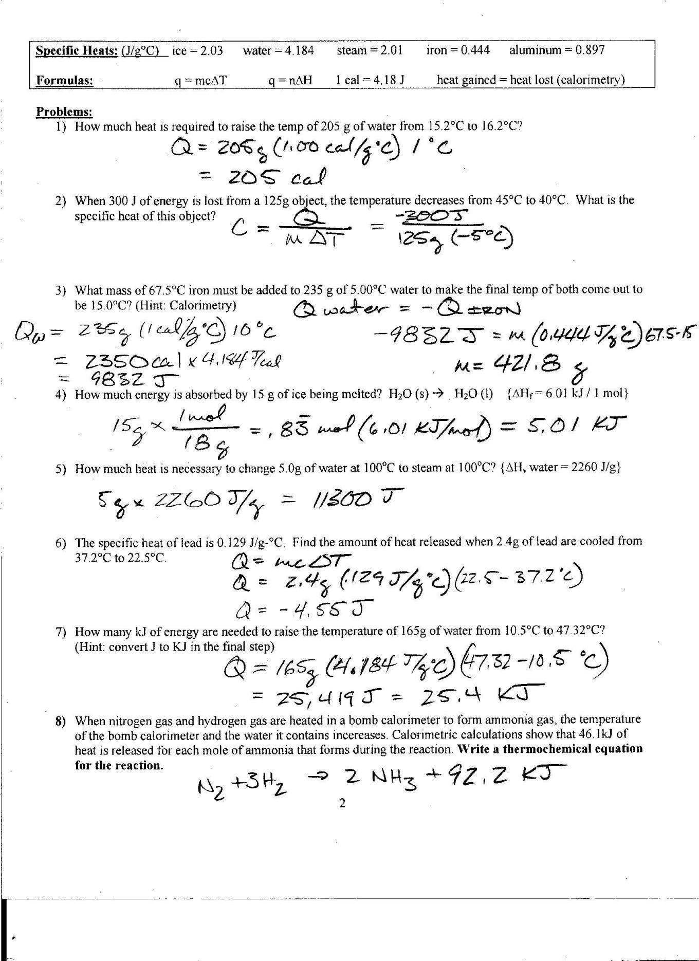 Calorimetry Worksheet Answers