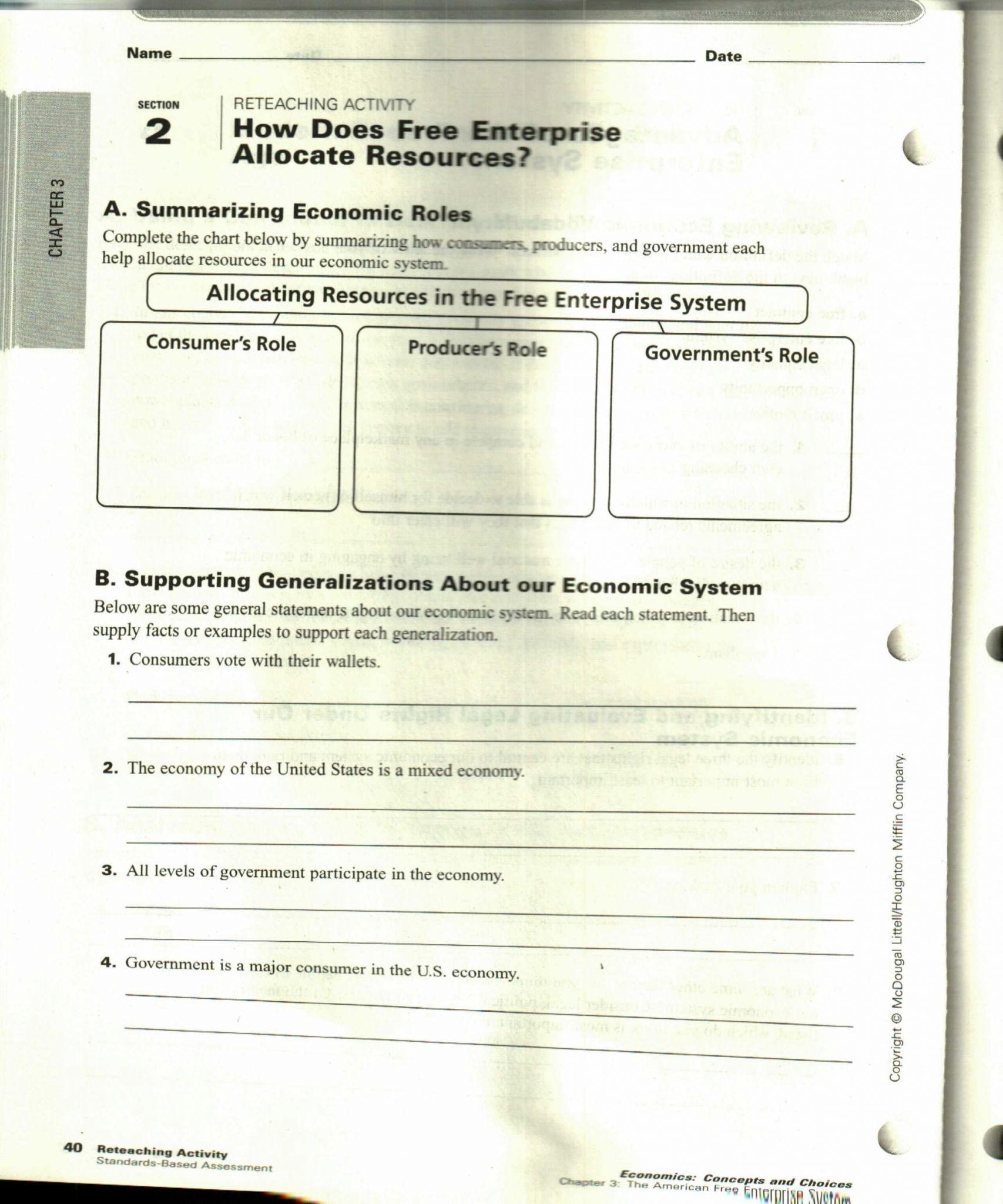 Circular Flow Of Economic Activity Worksheet