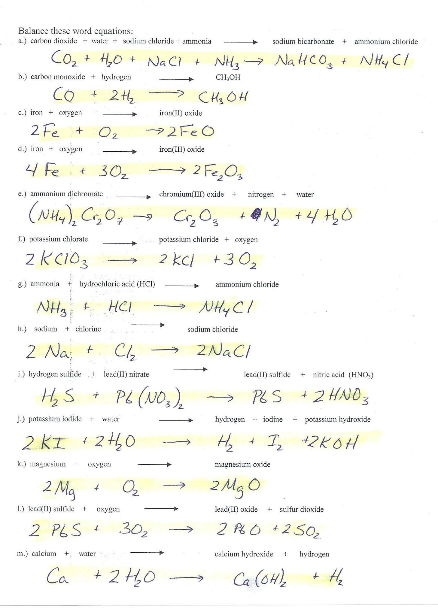 Chemical Names And Formulas Worksheet Answers