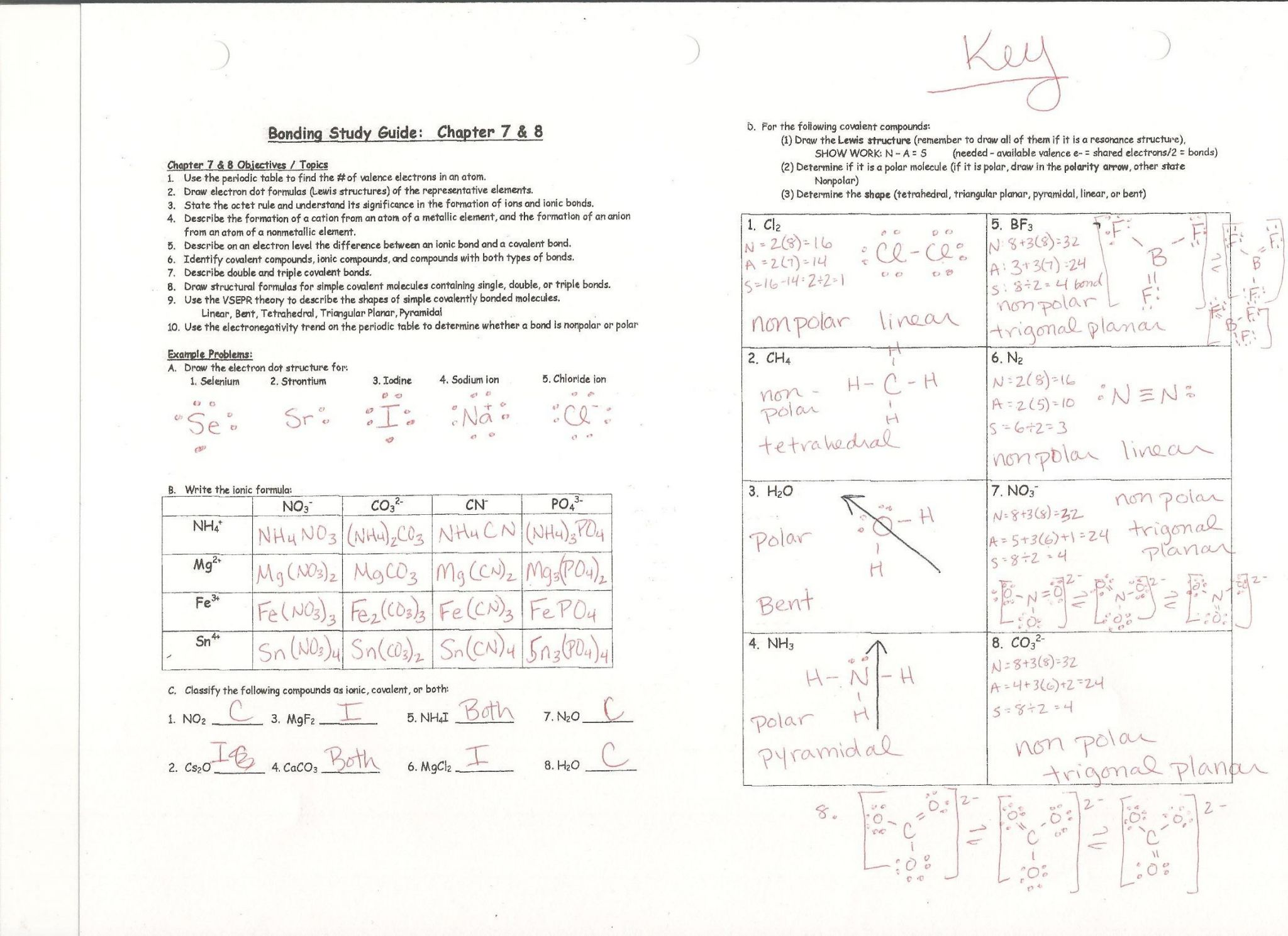 Bonding Basics Worksheet Answers