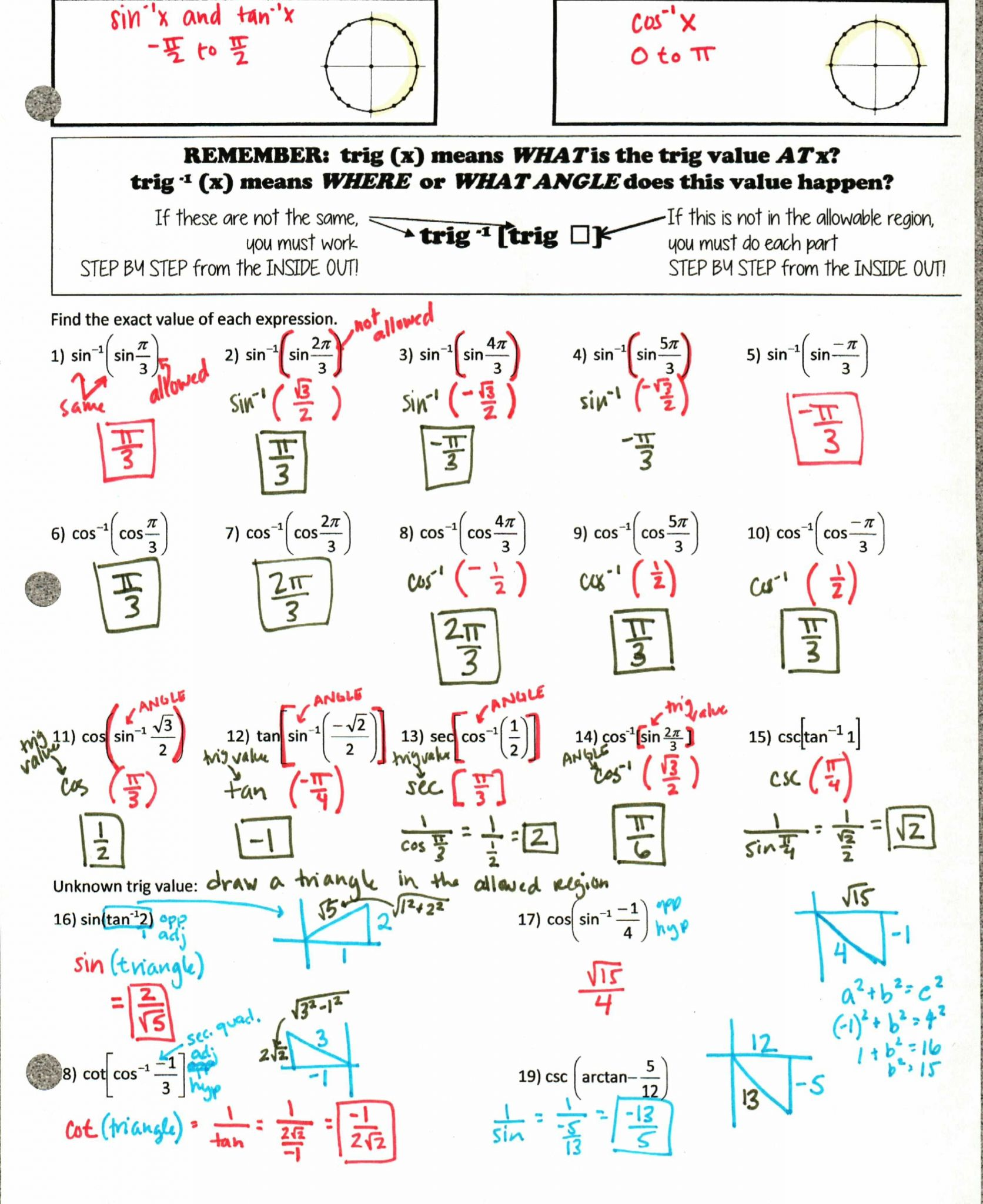 Unit 6 Worksheet 4 Using The Unit Circle Answer Key