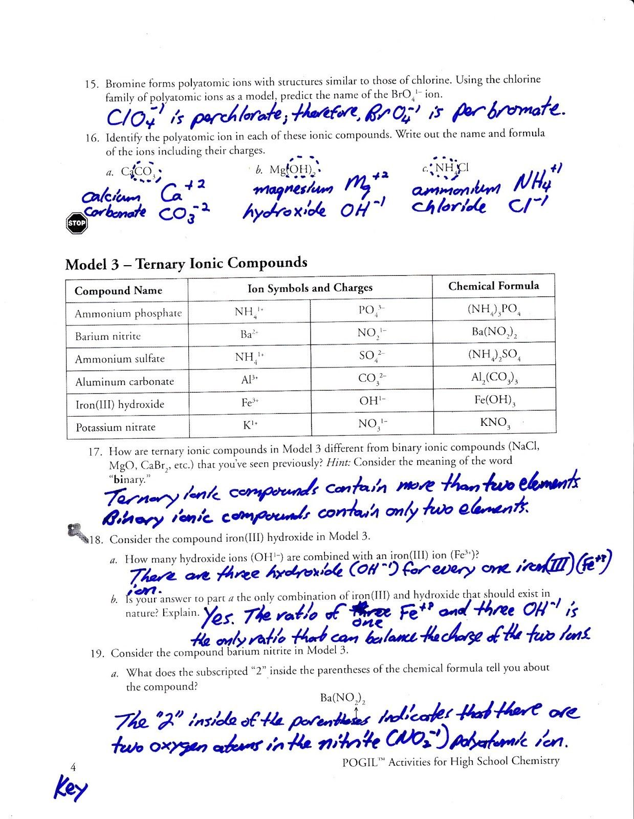 Chemistry Writing Formulas Worksheet Answers