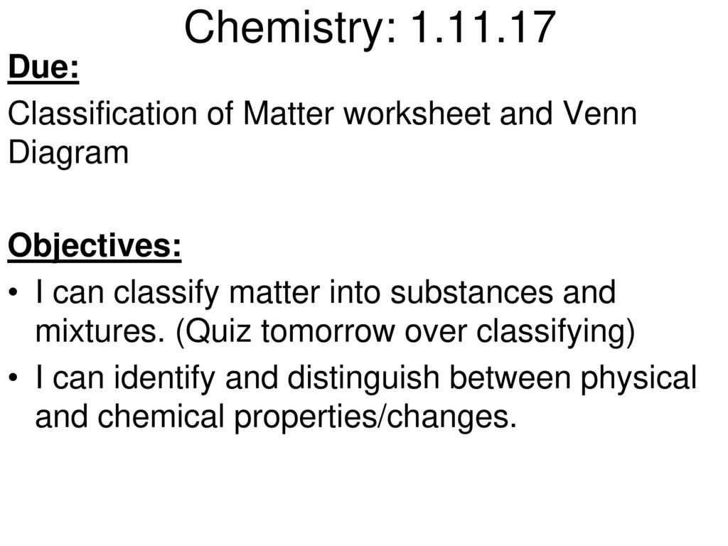 Classifying Matter Worksheet Answers