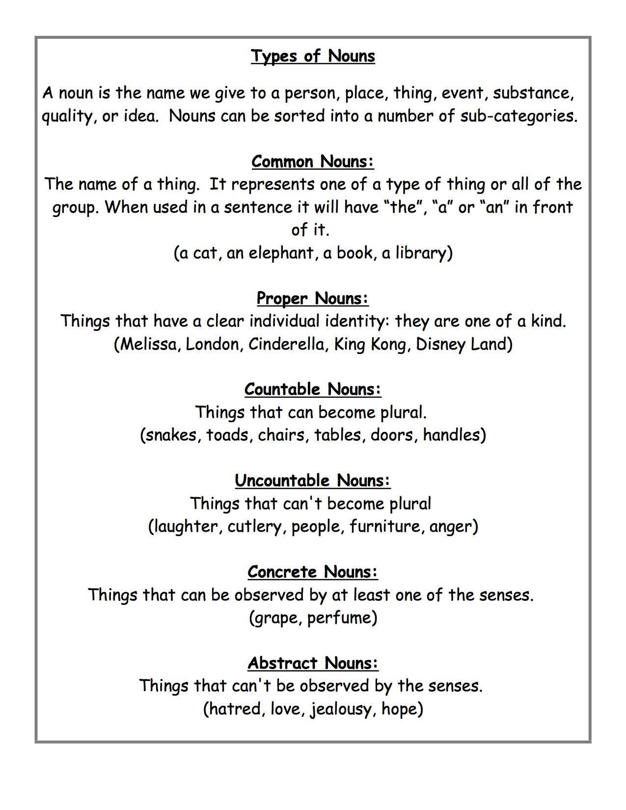 hight resolution of Abstract Noun Worksheet 3rd Grade   Printable Worksheets and Activities for  Teachers