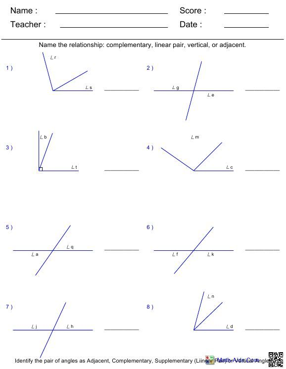 Complementary and Supplementary Angles Worksheet Kuta
