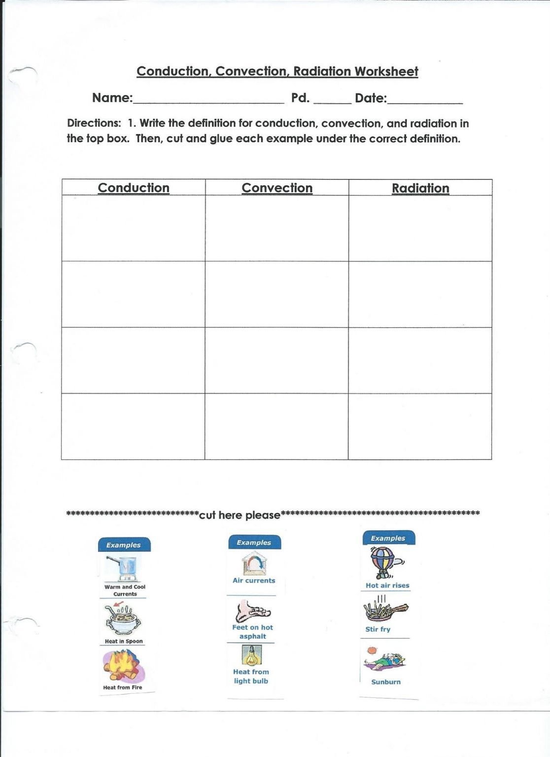 Worksheet Conduction Convection Radiation
