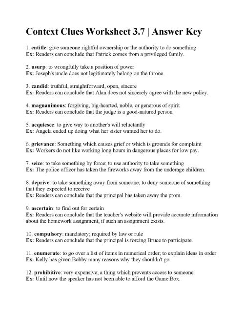 small resolution of Sample Worksheet For Context Clues   Printable Worksheets and Activities  for Teachers