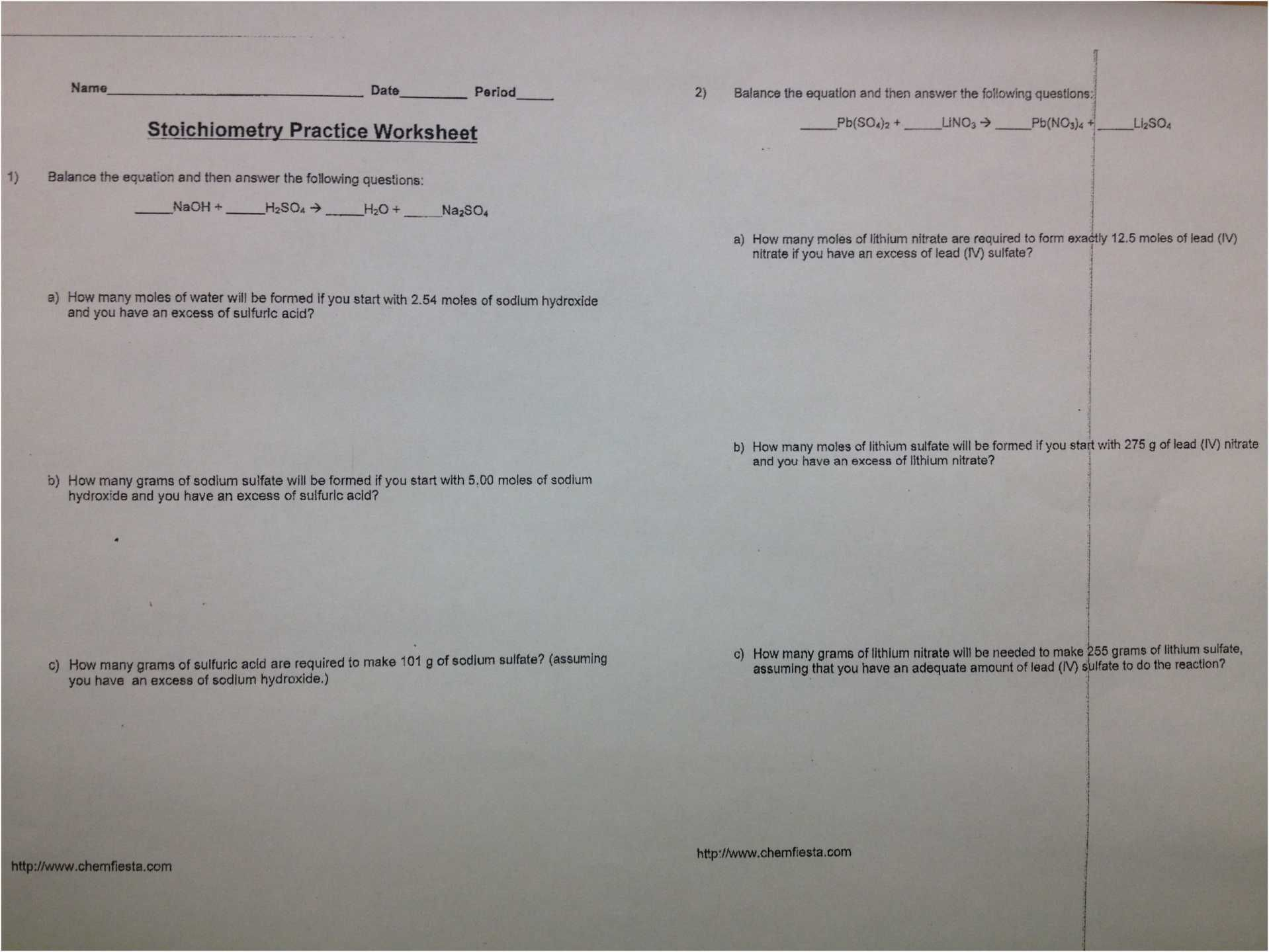 Limiting Reagent Worksheet Answers