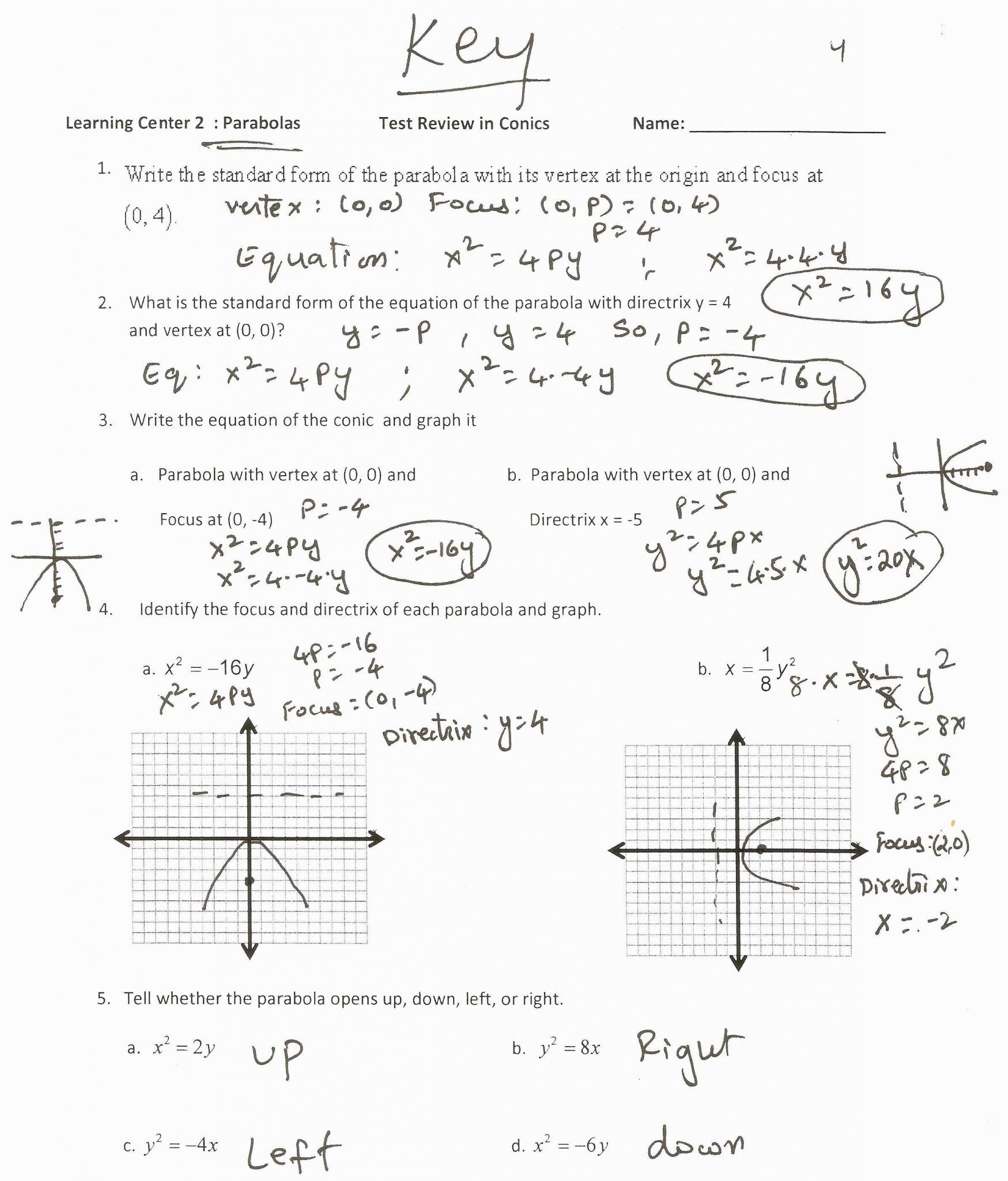 Writing Quadratic Equations From Graph Worksheet