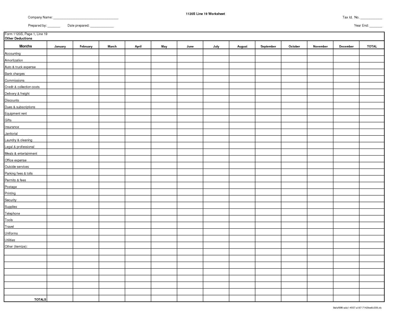 Tax Itemized Deduction Worksheet