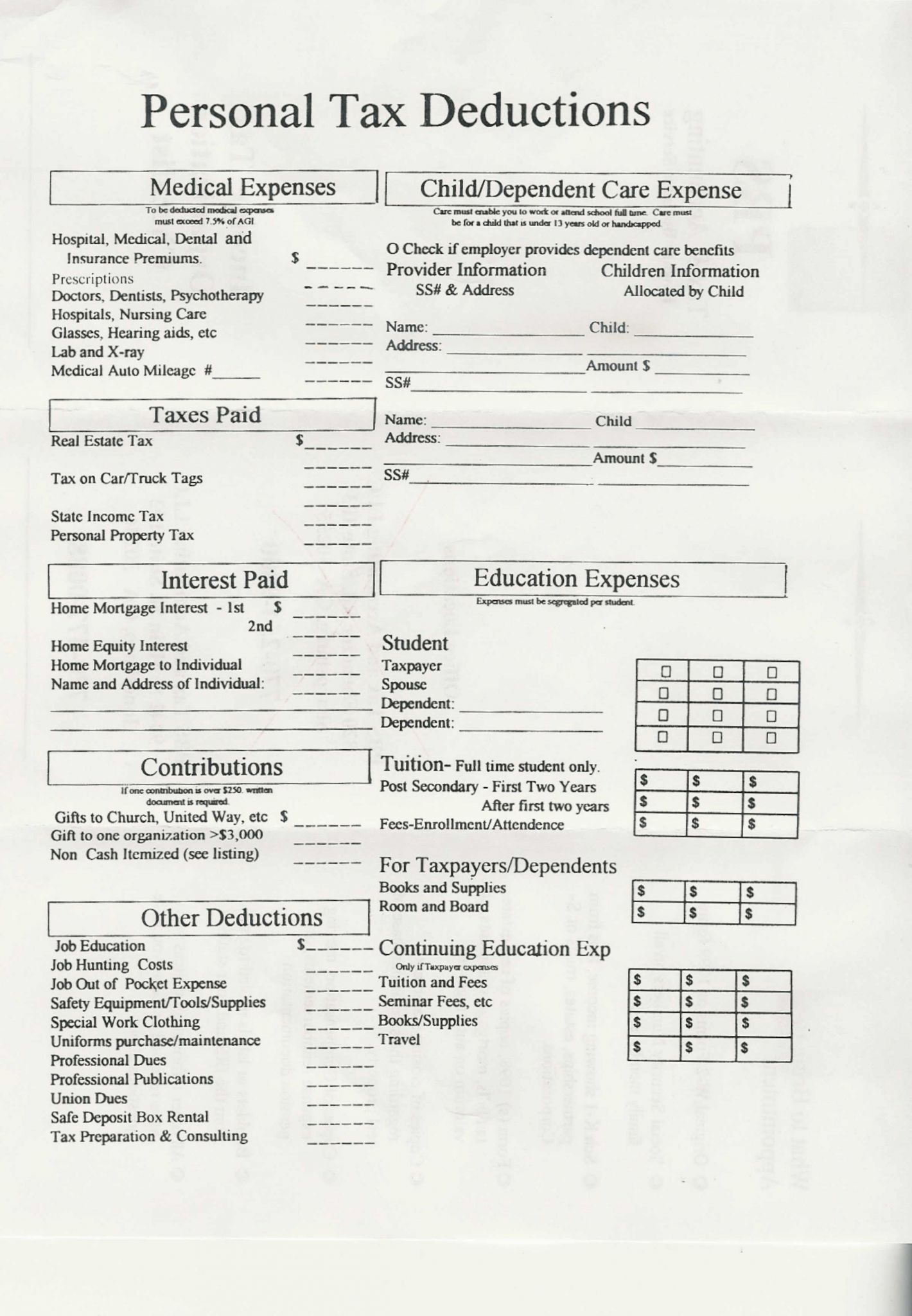 Deductions And Adjustments Worksheet