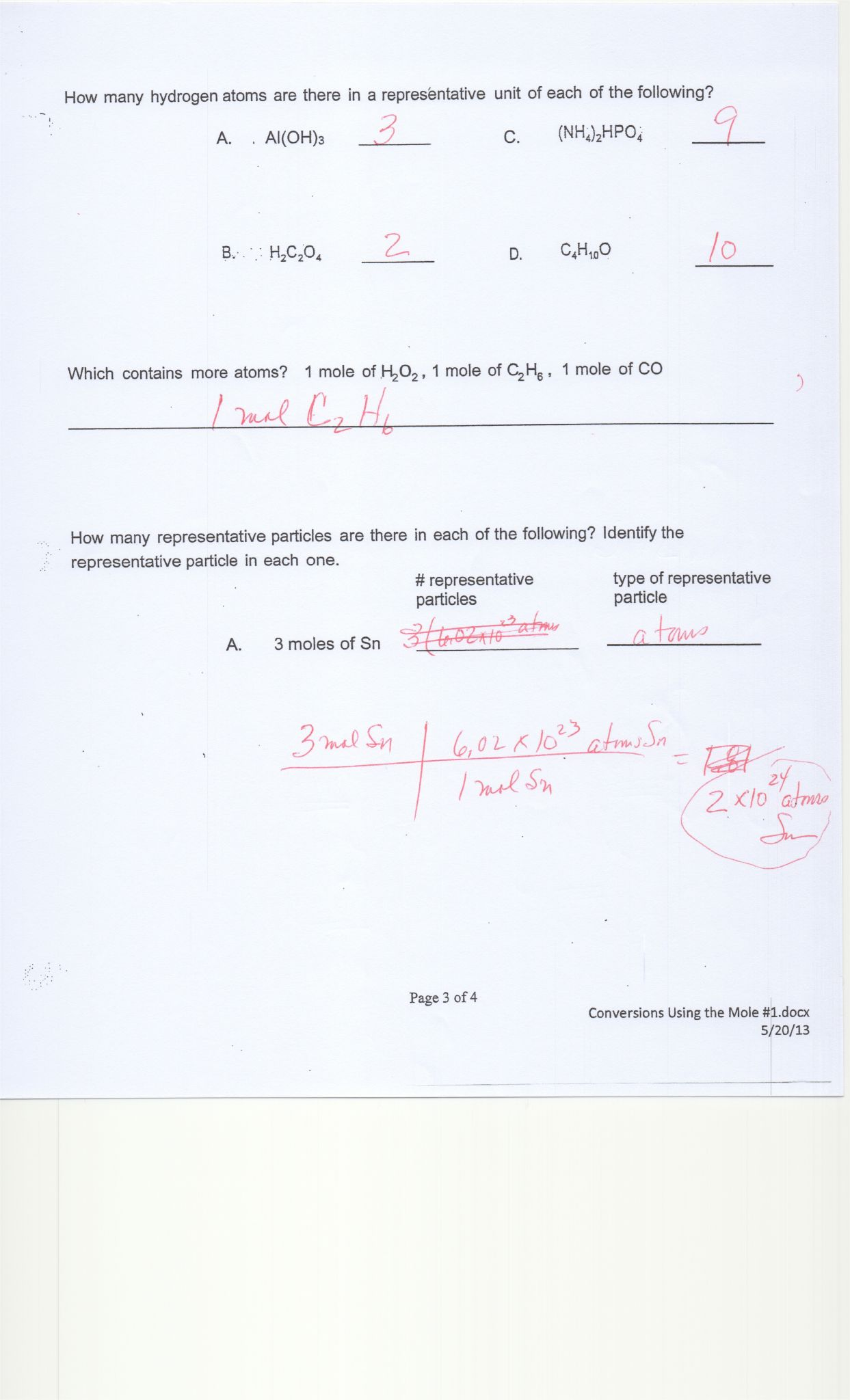 Dimensionalysis Worksheet Chemistry Answers