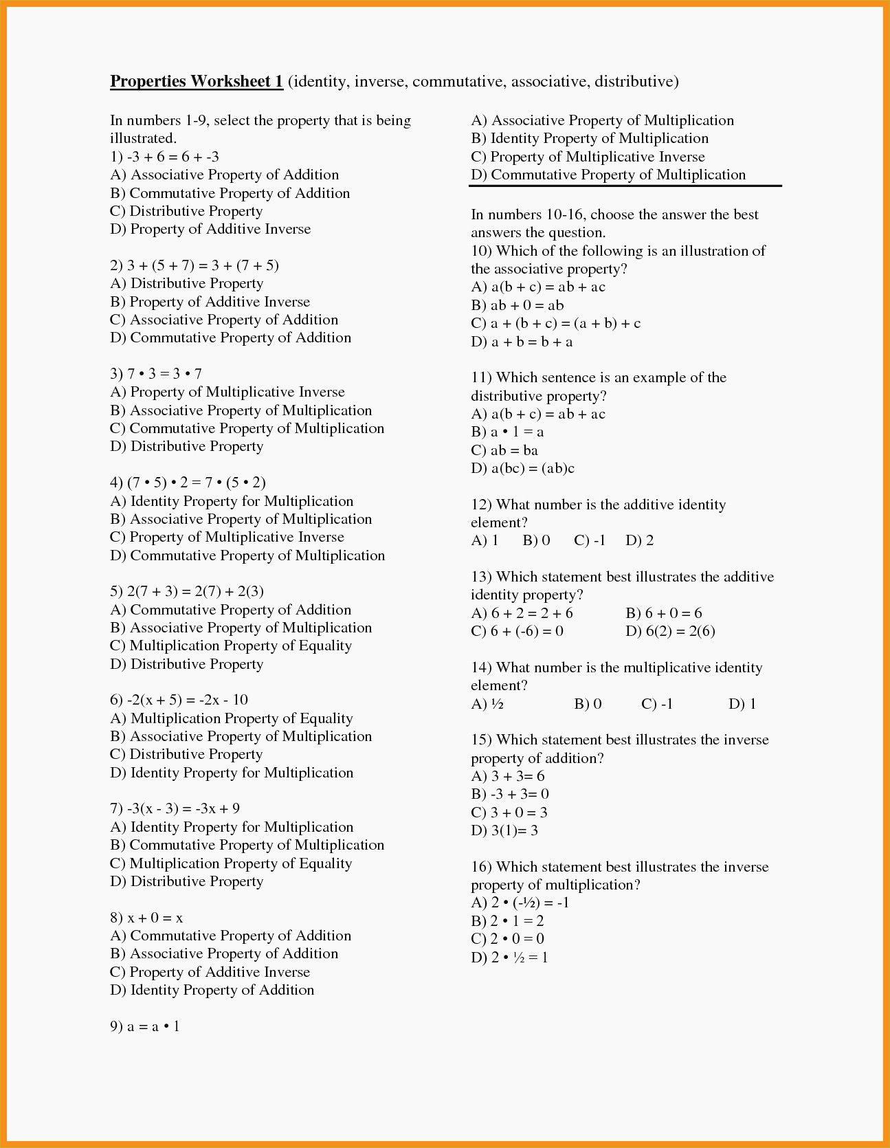 Distributive Property Practice Worksheet