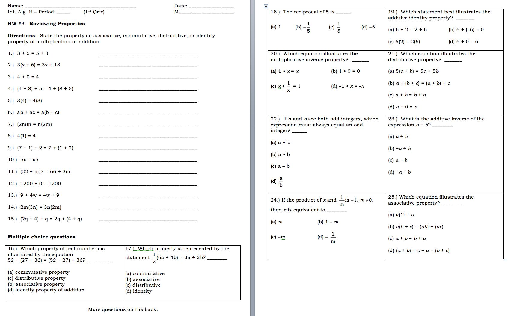 Combining Like Terms Worksheet 6th Grade