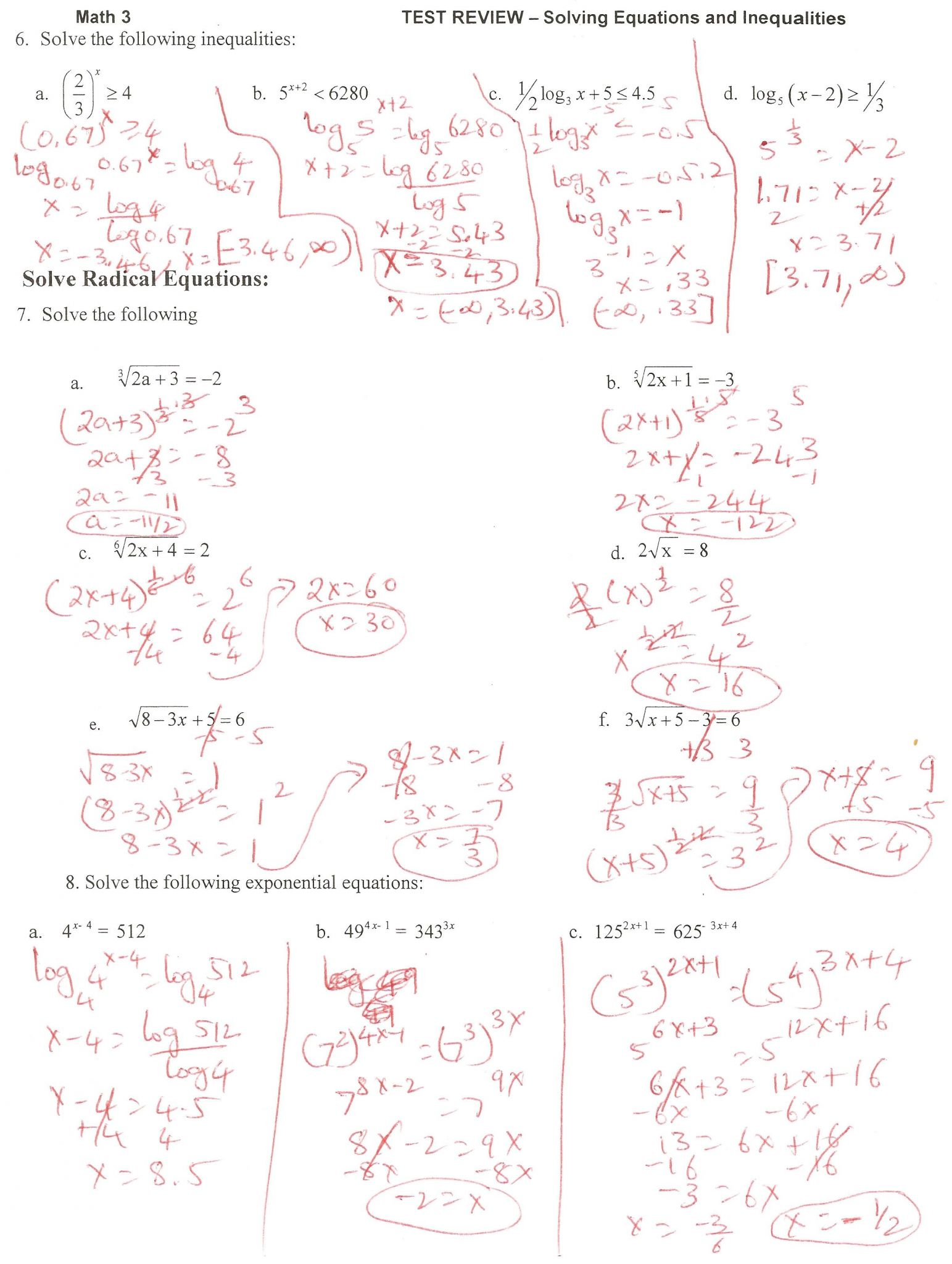 Exponent Review Worksheet Answers