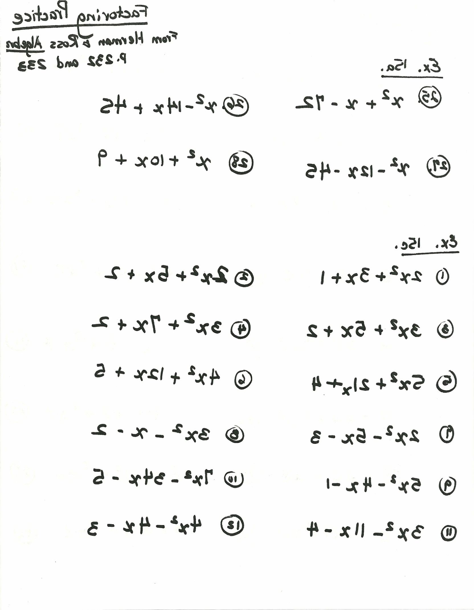 Factoring Practice Worksheet Answers
