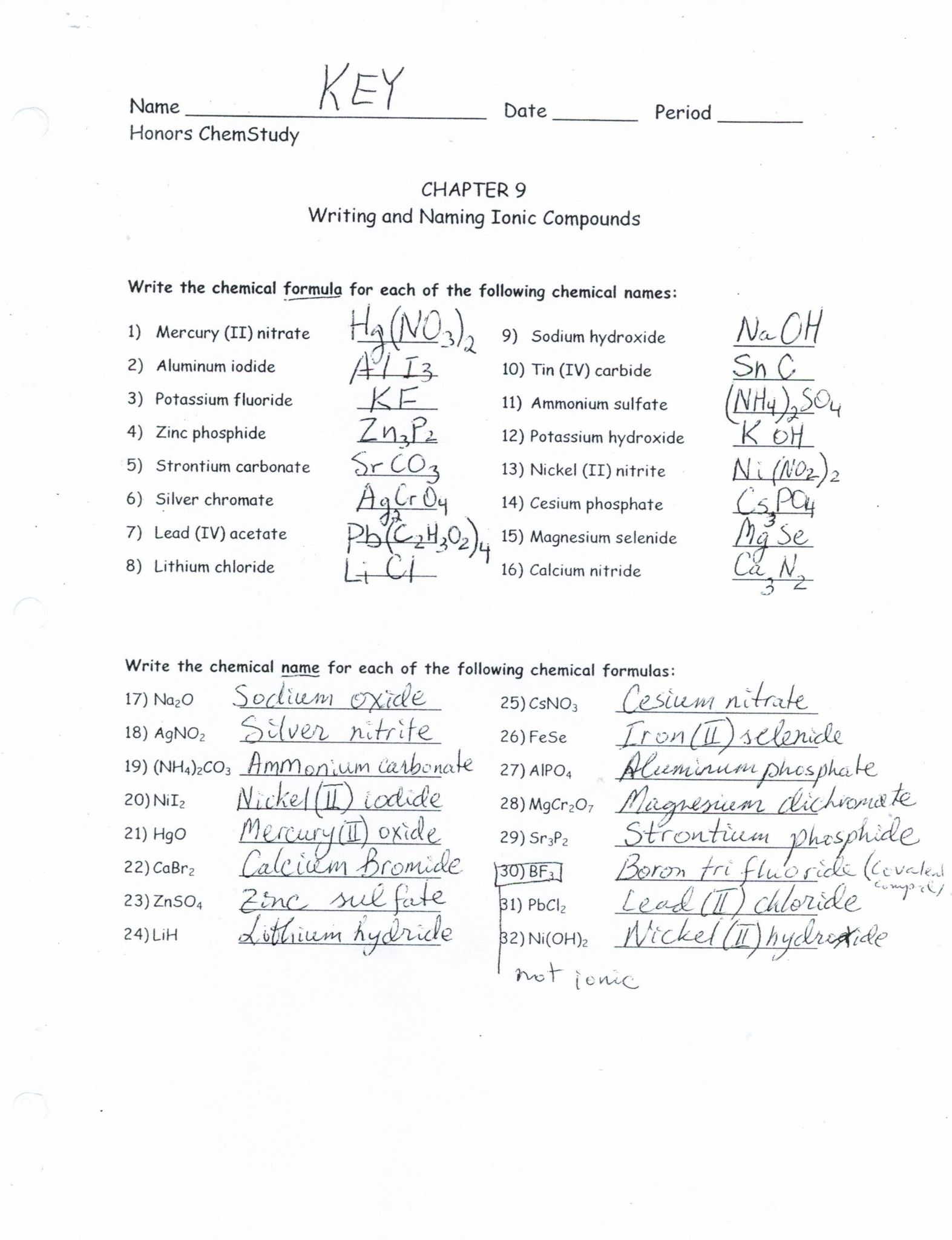 Writing And Naming Binary Ionic Compounds Worksheet Answers