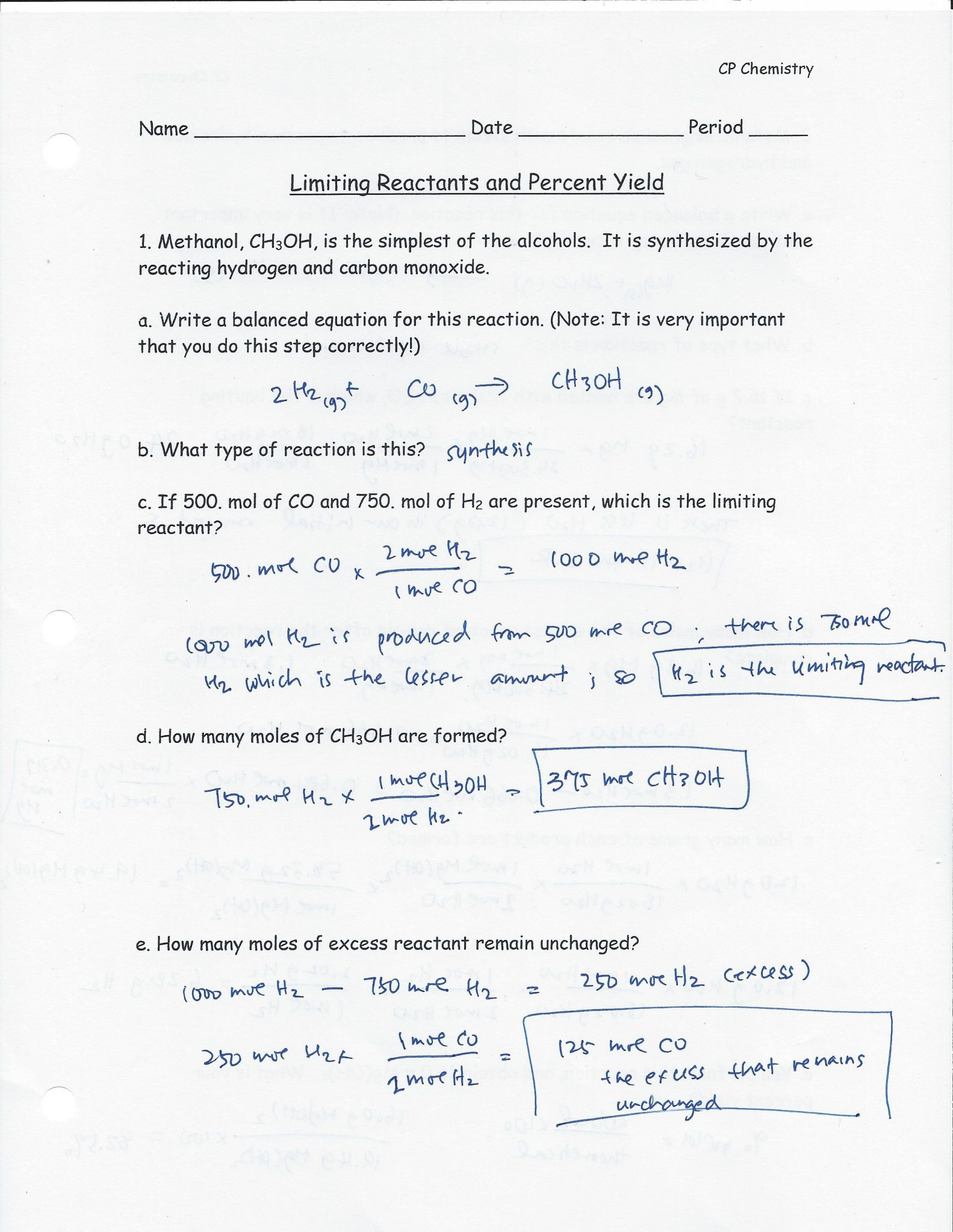 Worksheet Percent Yield