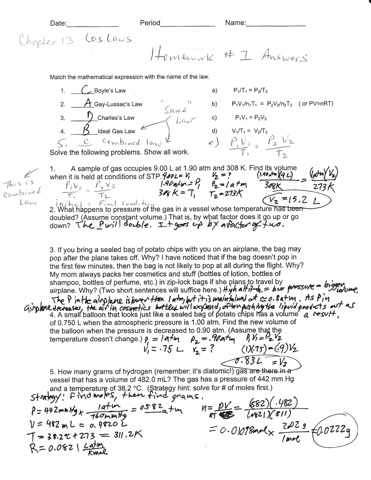 Gas Laws Worksheet 1 Answer Key