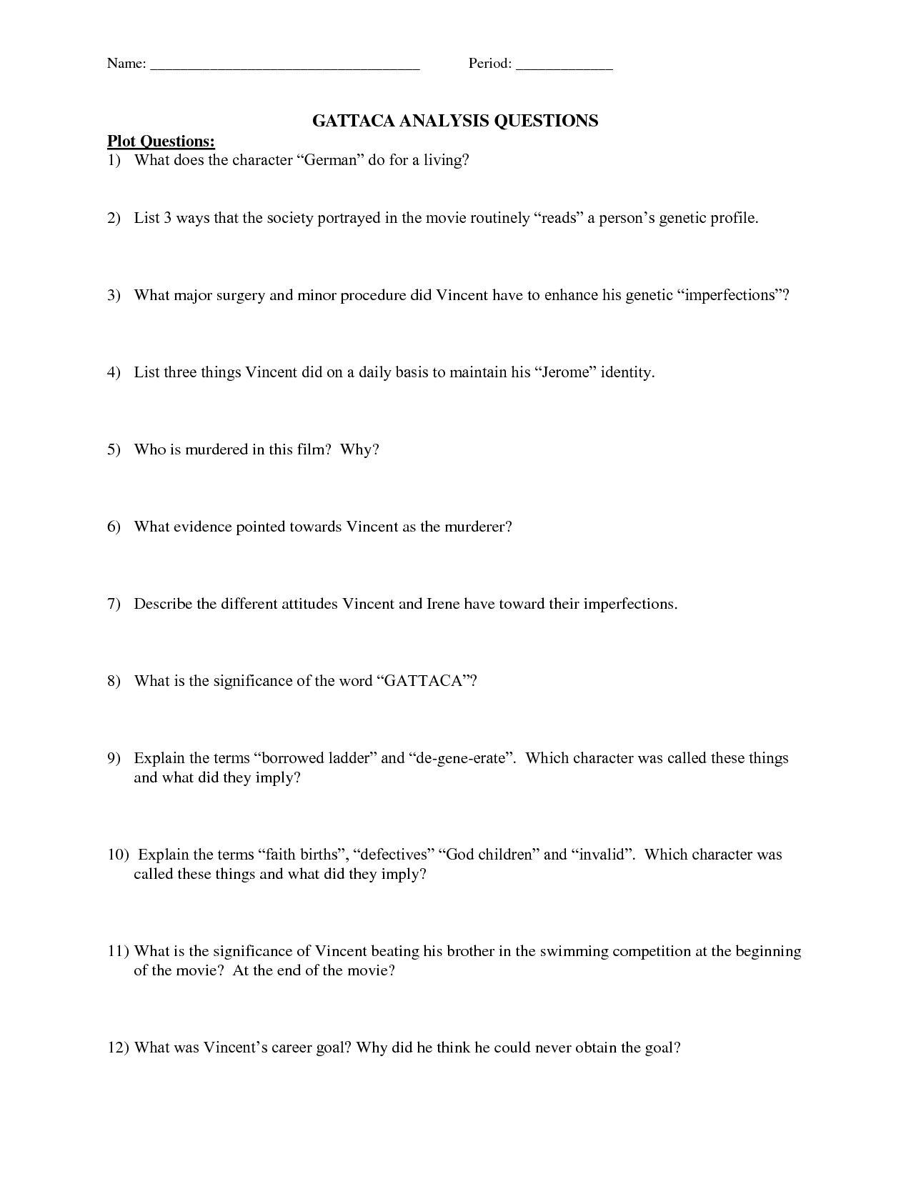 Gattaca Worksheet Biology Answers