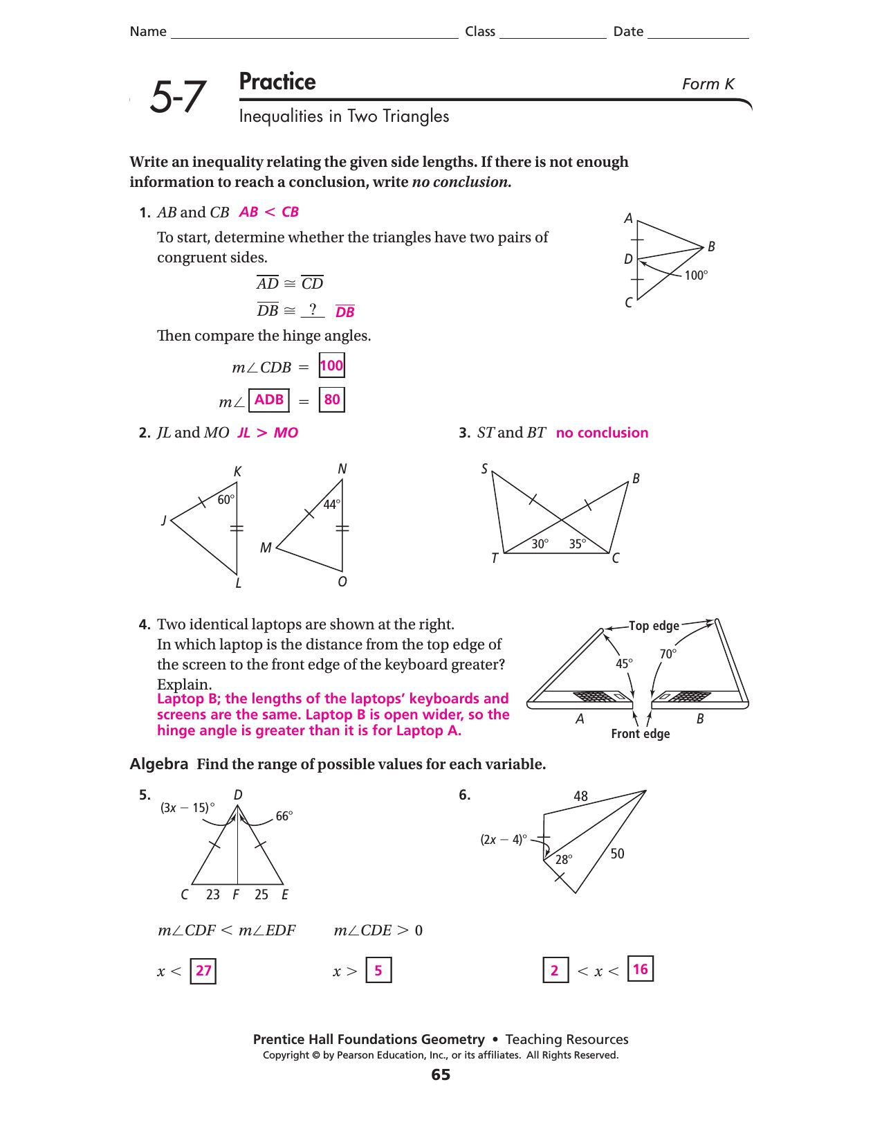 Glencoe Geometry Chapter 7 Worksheet Answers