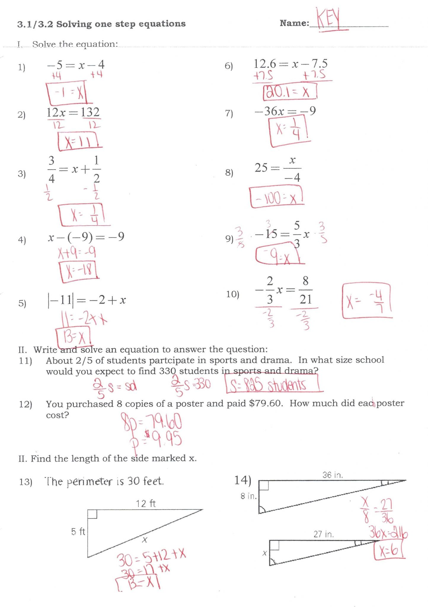 Solving One Step Equations Worksheet Answer Key