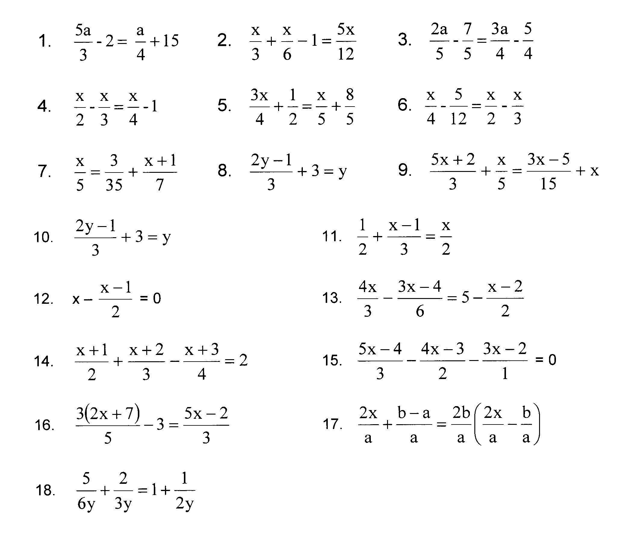 Linear Equations In One Variable Worksheet Doc