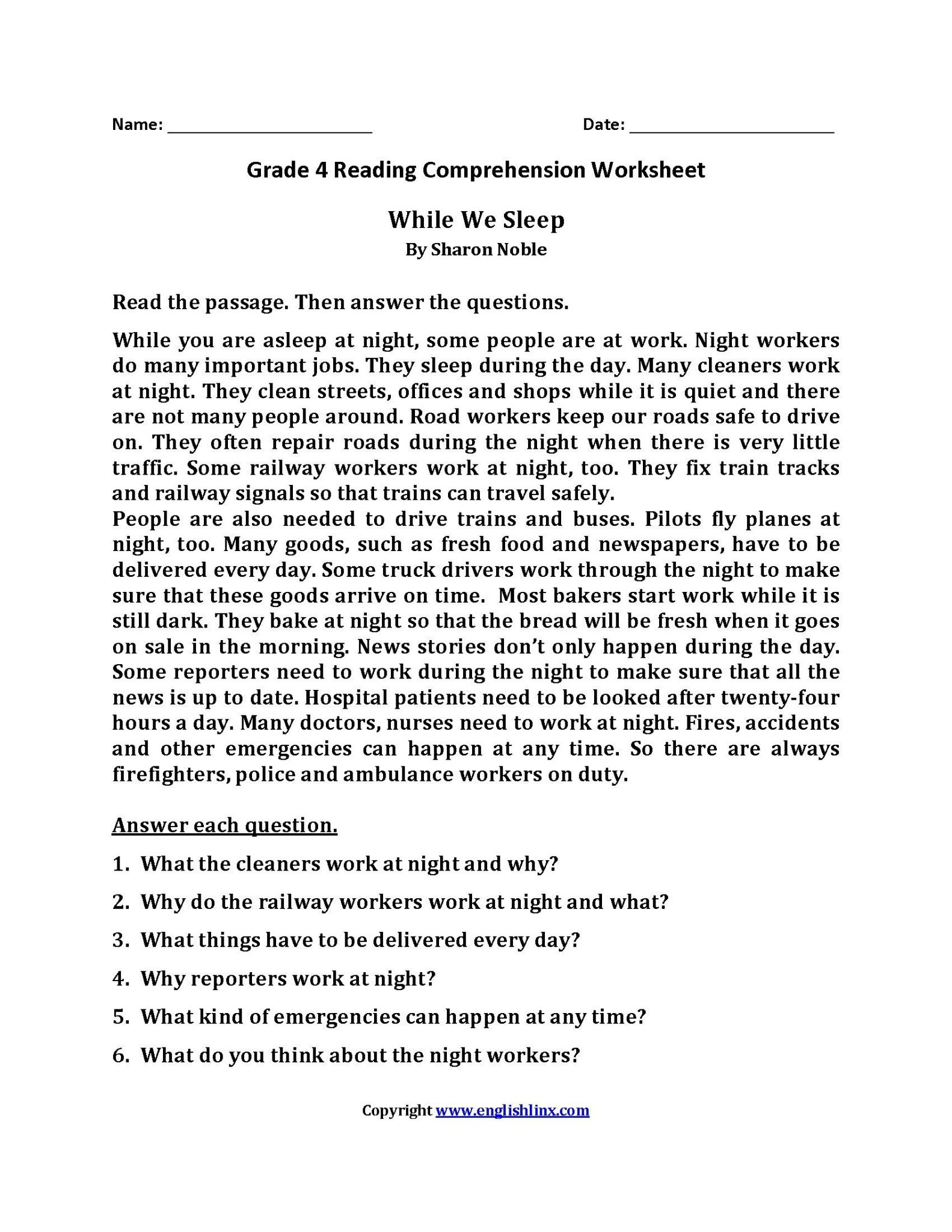 Reading Comprehension Passages With Questions And Answers