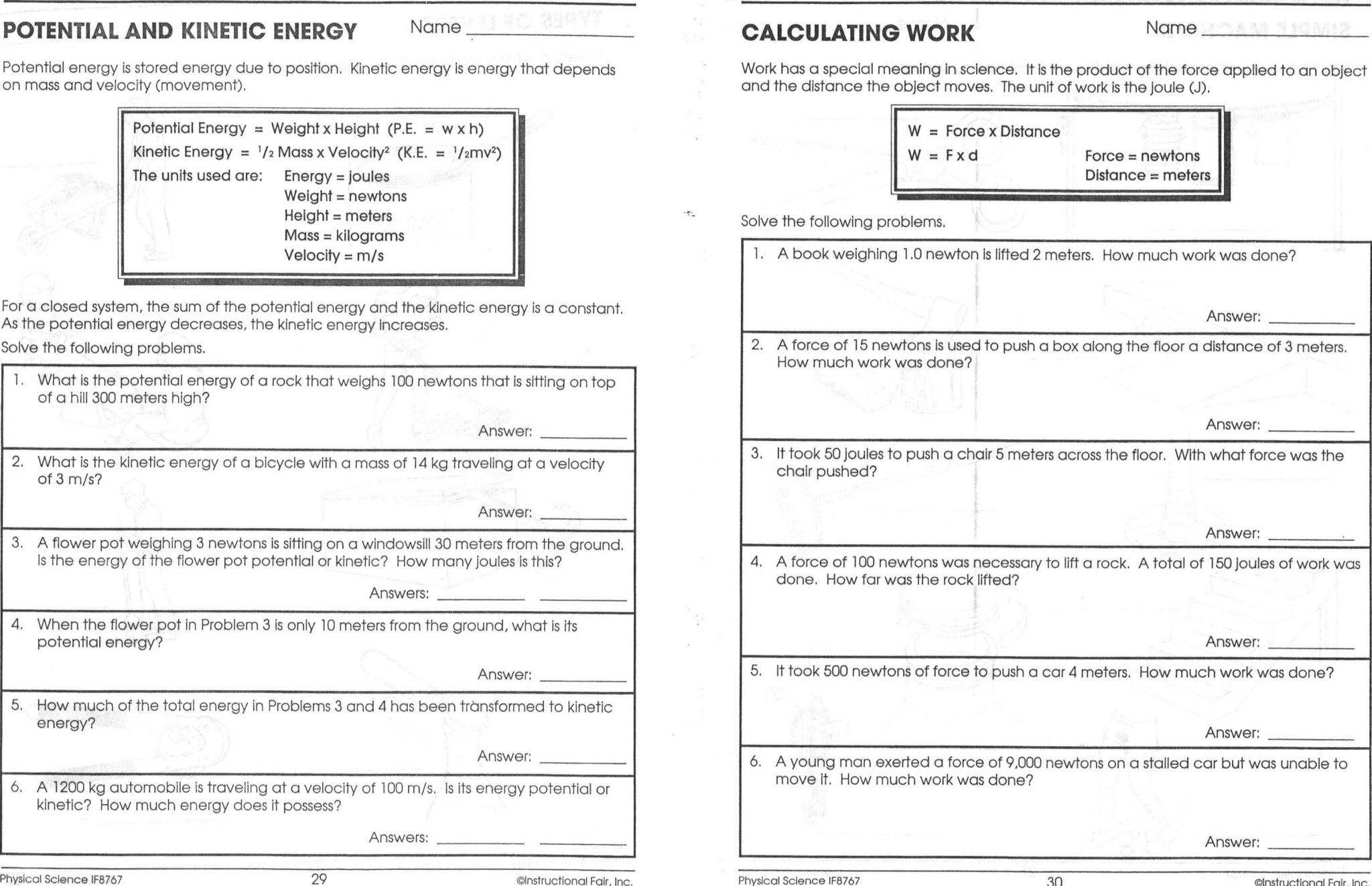 High School Physics Worksheets With Answers