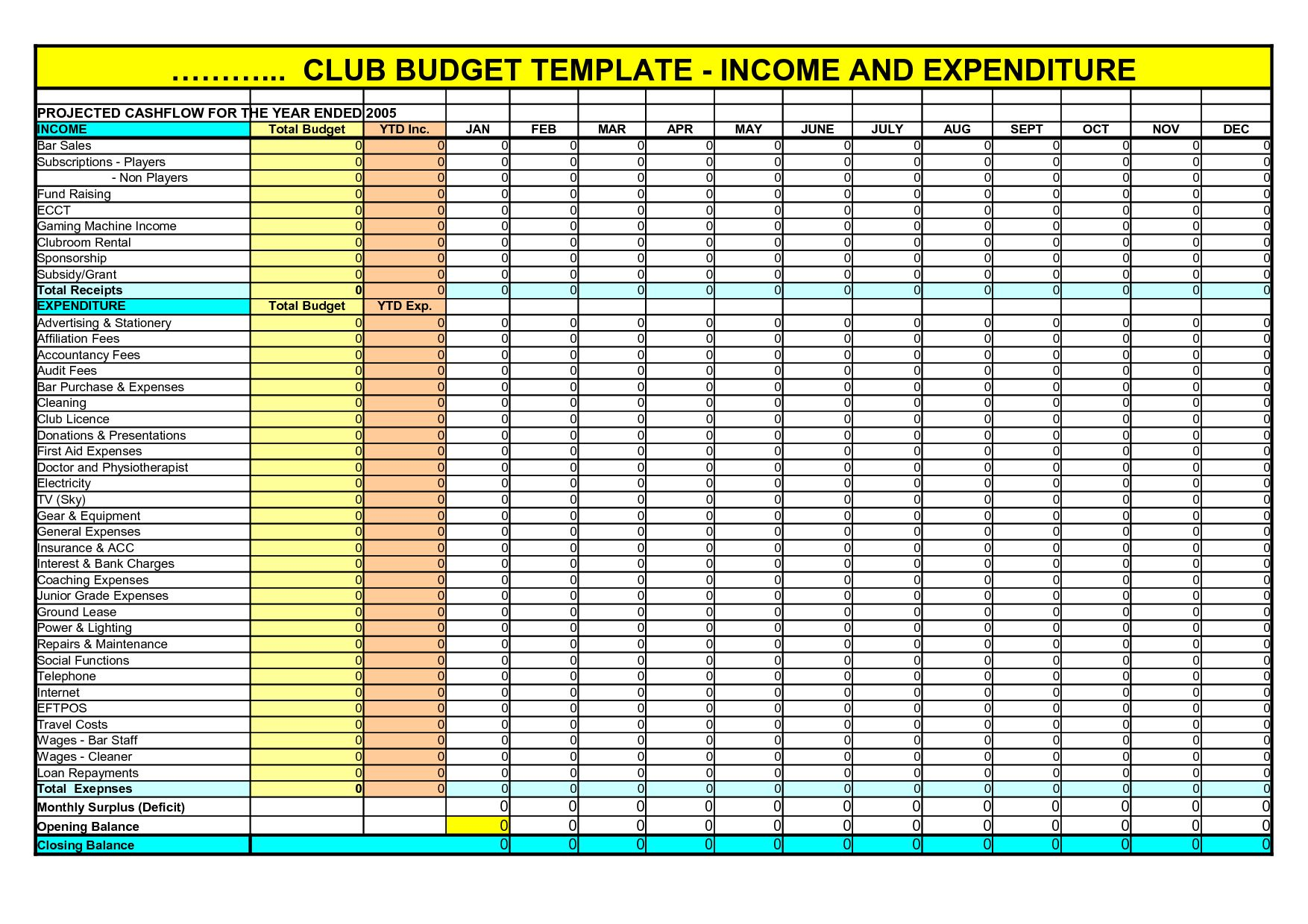 Household Budget Worksheet Excel
