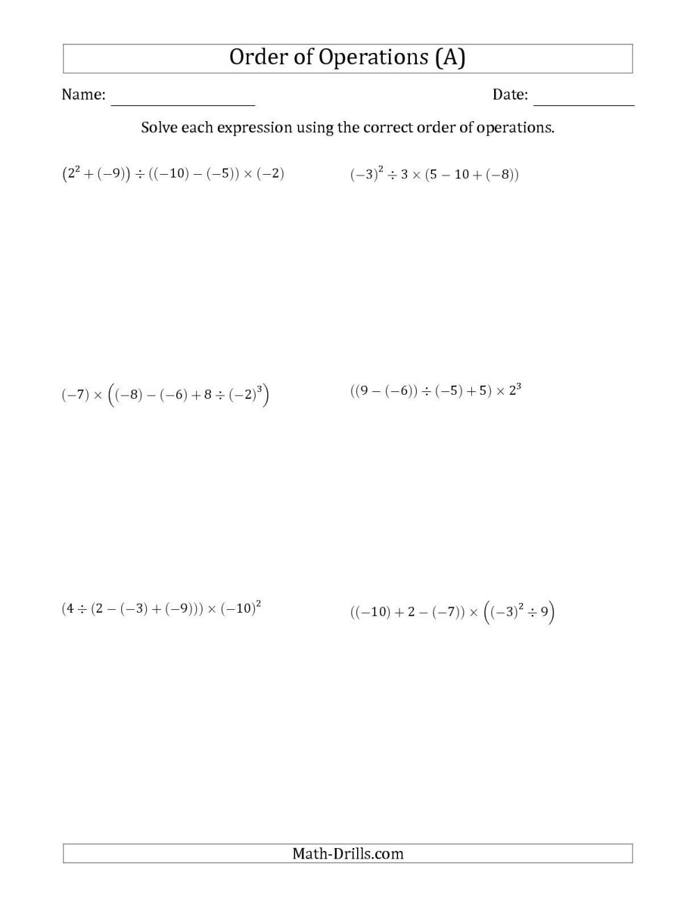 medium resolution of Integers Practice Worksheets   Printable Worksheets and Activities for  Teachers