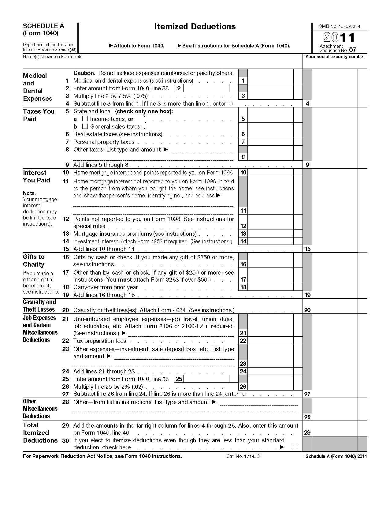 Itemized Deductions Worksheet